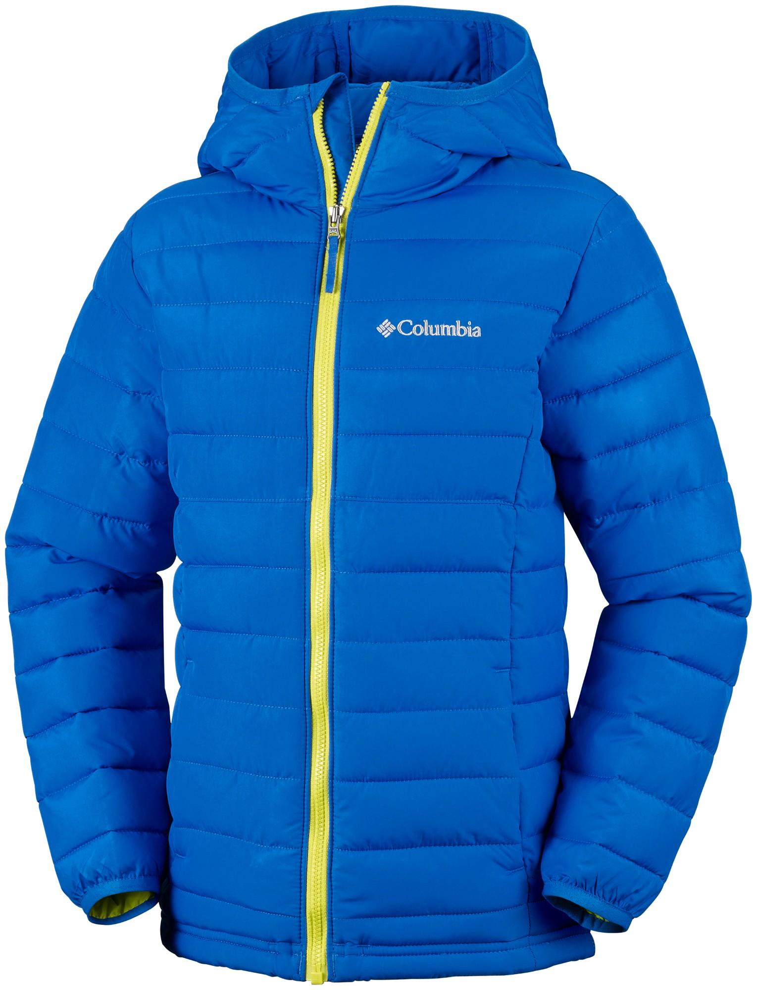 Columbia Powder Lite Boys Hooded Jacket Super Blue 152