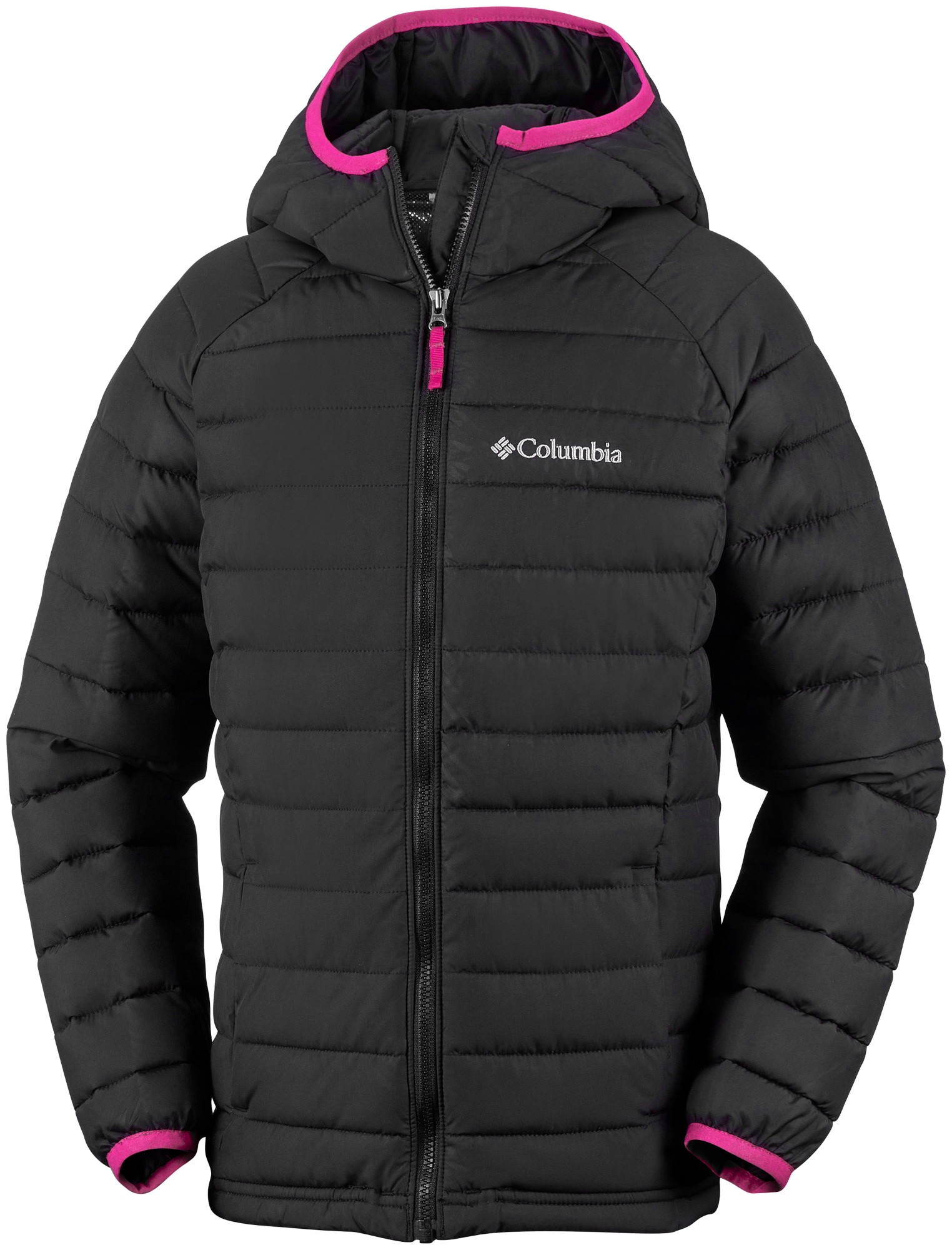 Columbia Powder Lite Girls Hooded Jacket Black 128
