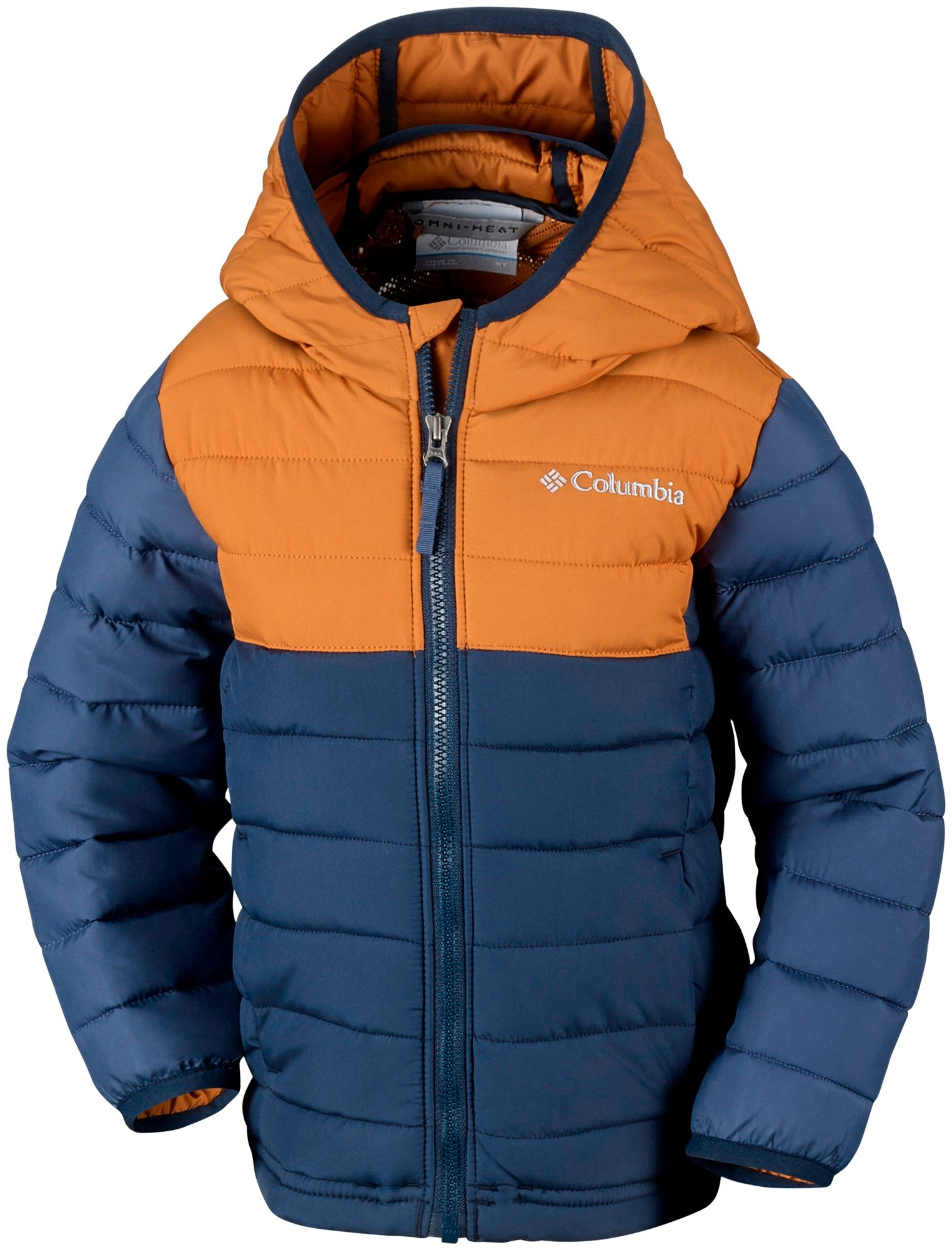 Columbia Powder Lite Boys Hooded Jacket Collegiate Navy/Canyon Gold 164