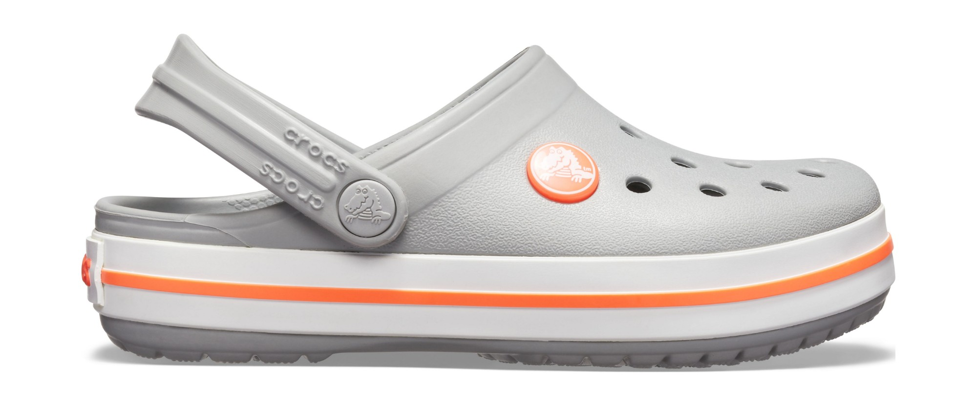 Crocs™ Kids' Crocband Clog Light Grey/Bright Coral 30