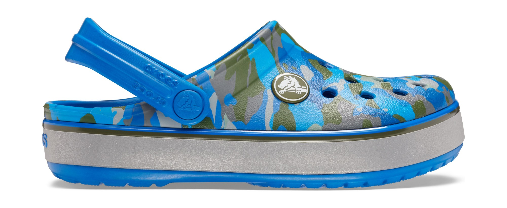 Crocs™ Crocband Camo Reflect Band Clog Kid's Bright Cobalt 29