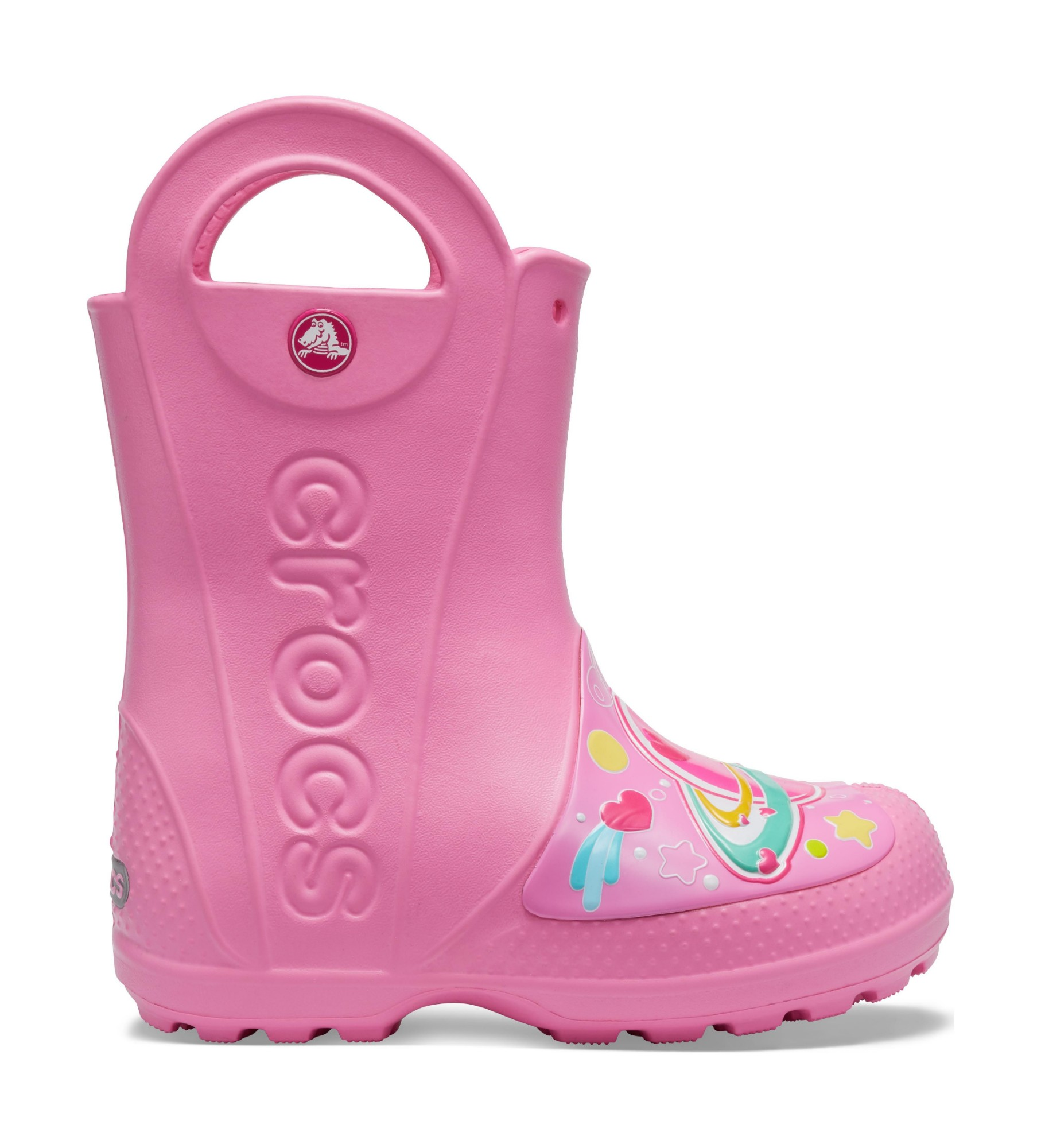 Crocs™ FunLab Galactic Hearts Rain Boot Girl's Pink Lemonade 25
