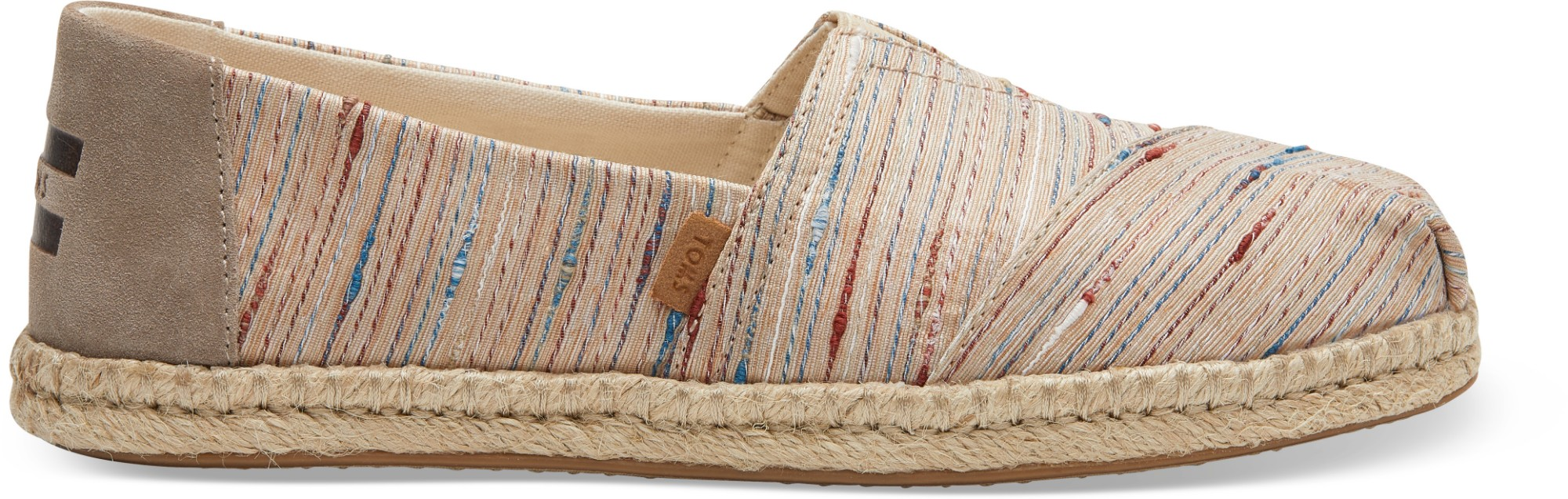 TOMS Slub Stripe on Rope Women's Alpargata Metallic 41