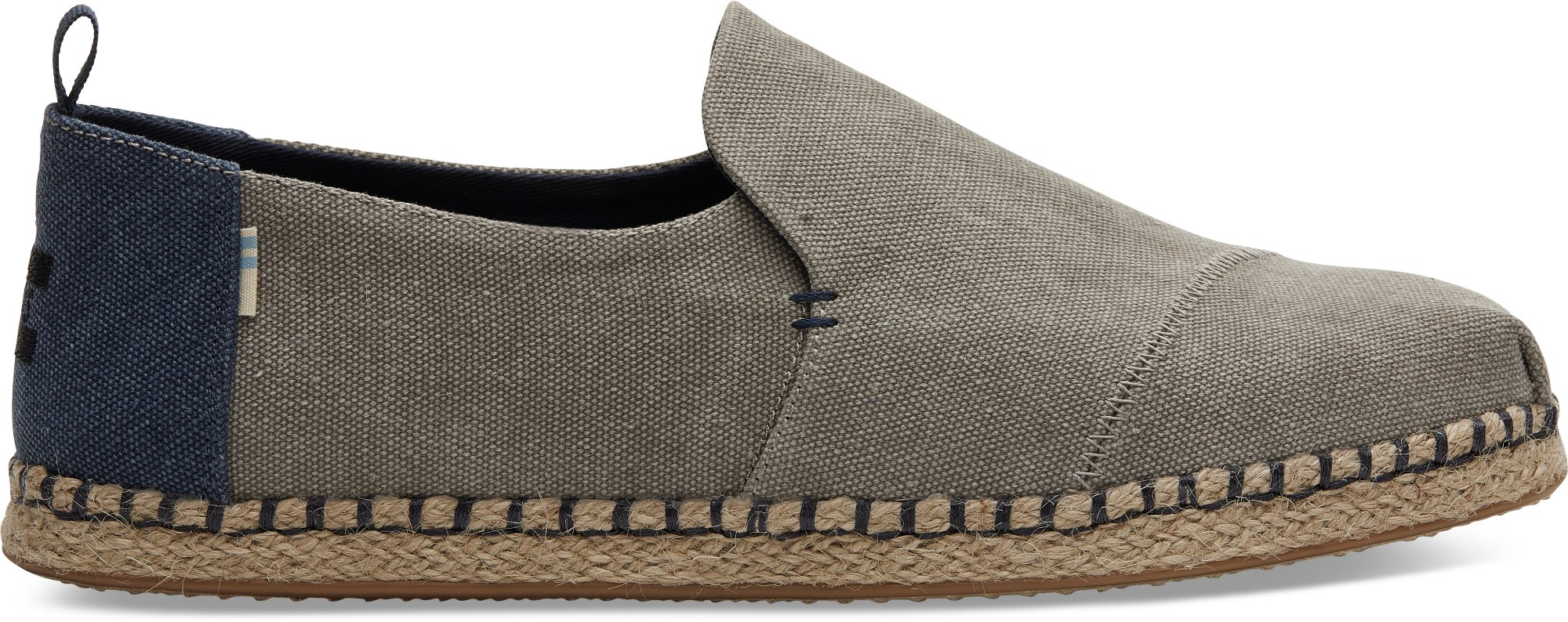 TOMS Washed Canvas Men's Deconstructed Alpargata Rope Drizzle Grey 42