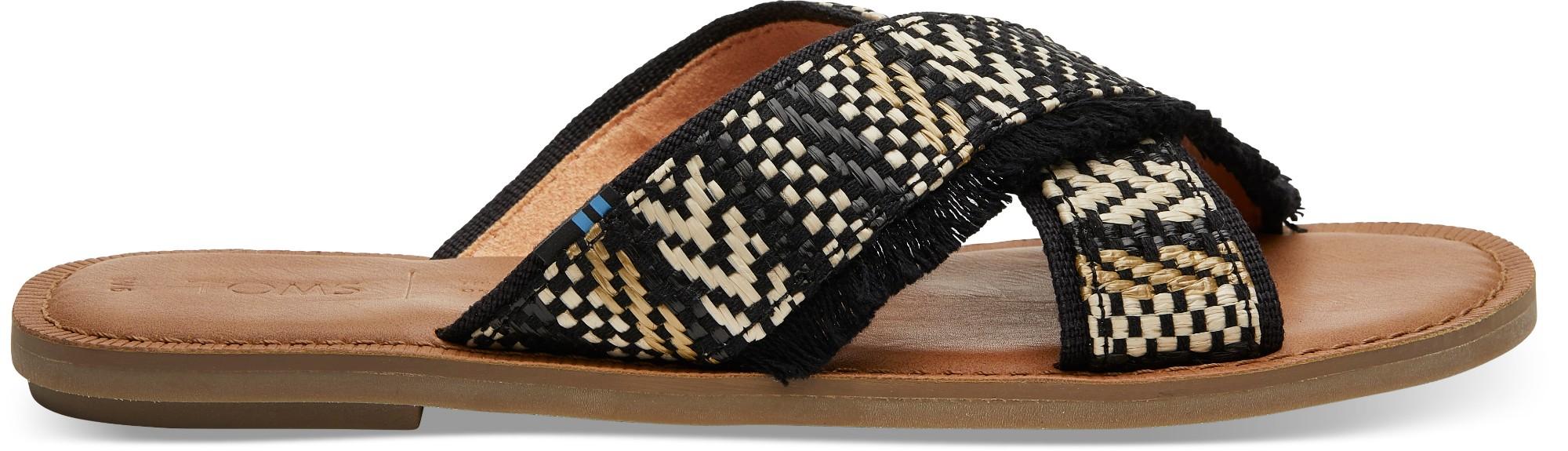 TOMS Geometric Woven Women's Viv Sandal Black 38