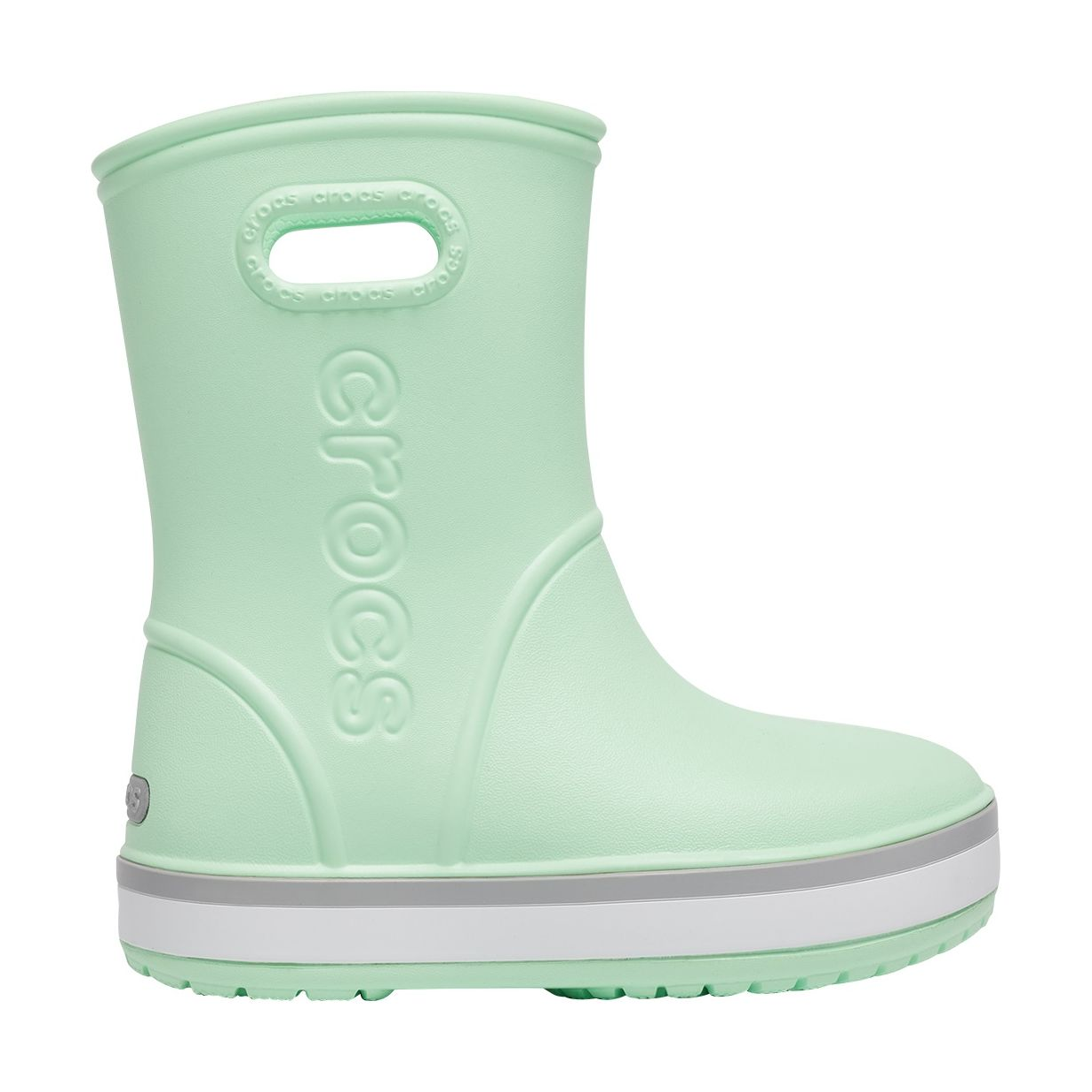 Crocs™ Crocband Rain Boot Kid's Neo Mint/Light Grey 32