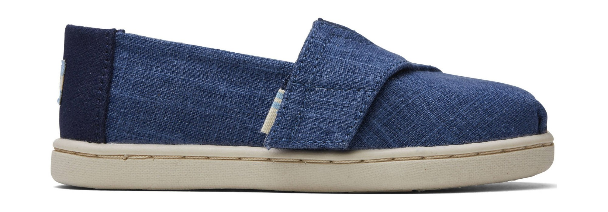 TOMS Crosshatch Linen Kid's Alpargata Blue 22