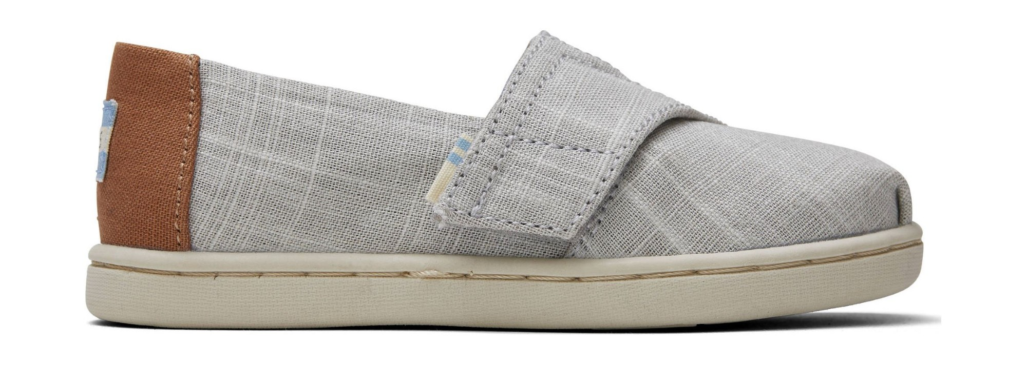 TOMS Crosshatch Linen Kid's Alpargata Grey 22