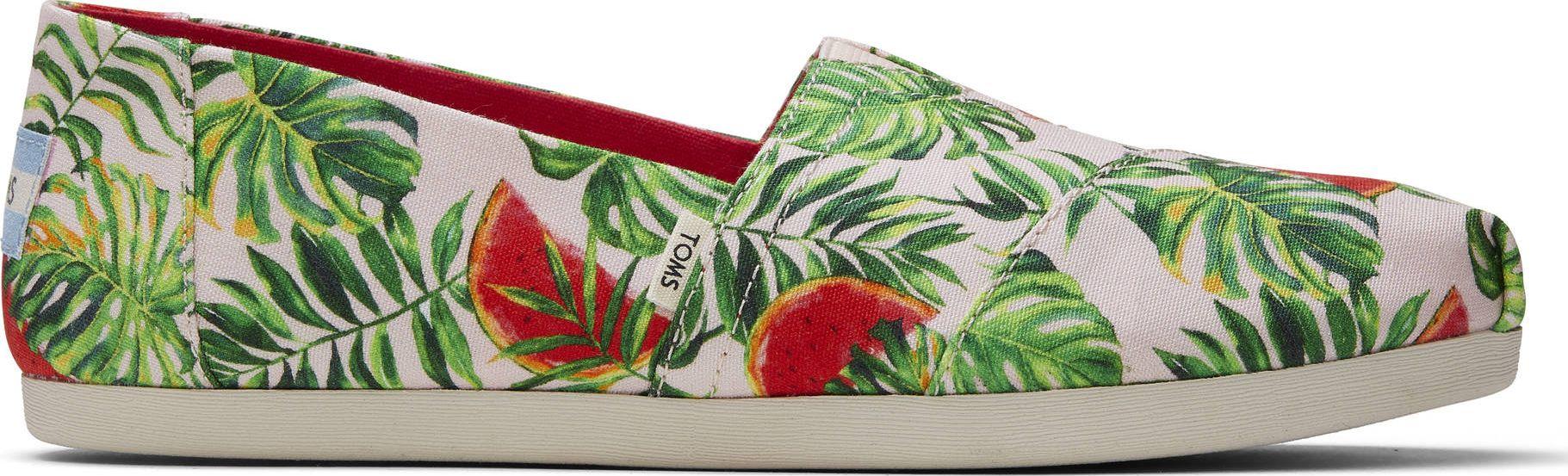 TOMS Watermelon Palms Print Women's Alpargata Pink 36