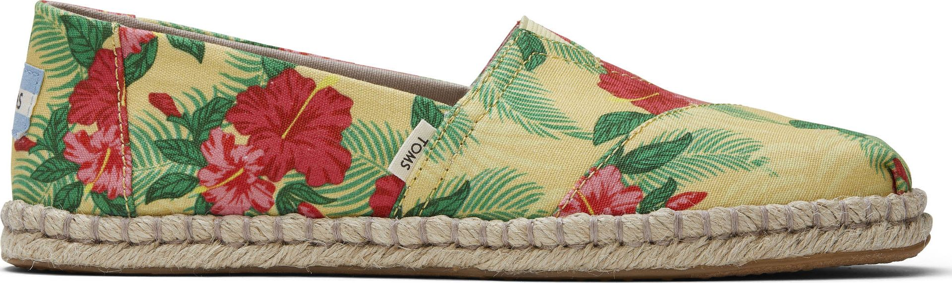 TOMS Hibiscus Floral Rope Women's Alpargata Yellow 40