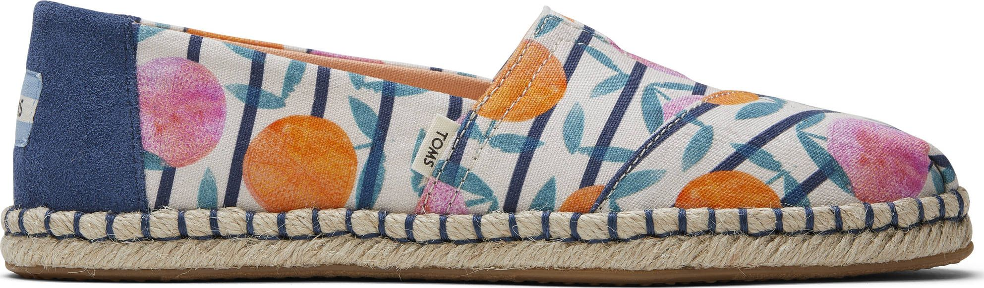 TOMS Citrus Stripe Print Rope Women's Alpargata Multi-Color 37