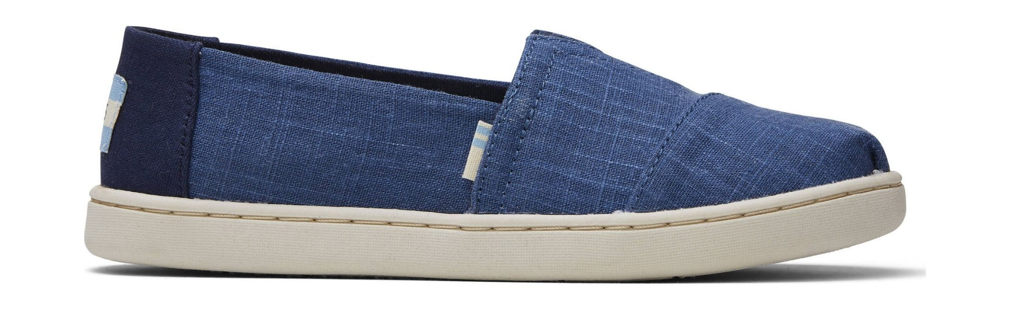 TOMS Crosshatch Linen Junior's Alpargata Blue 36