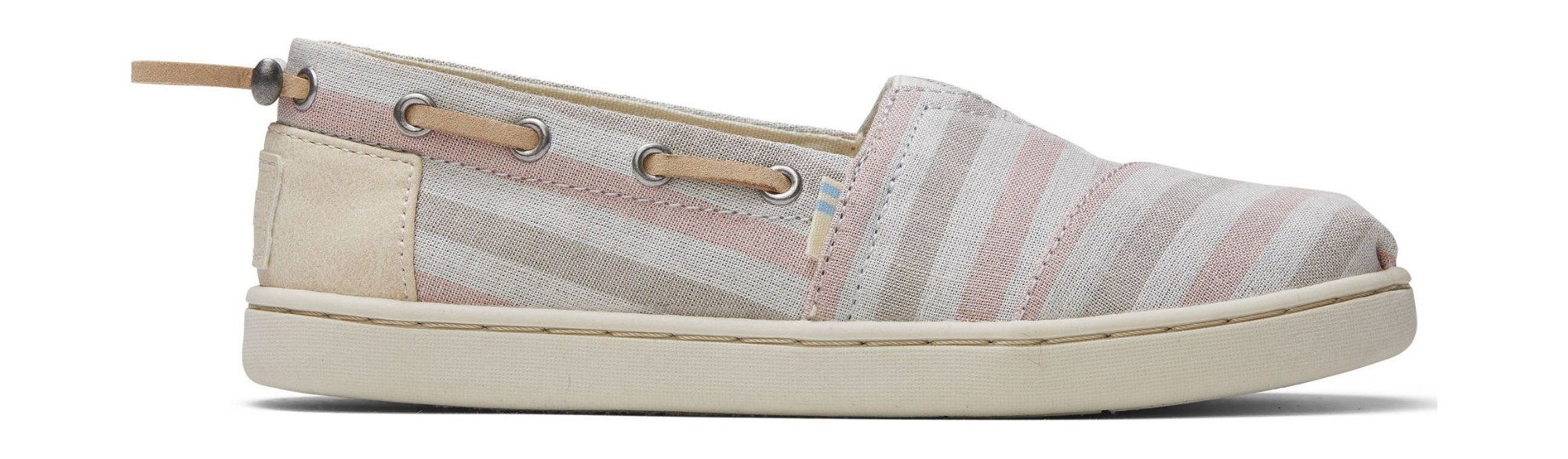 TOMS Woven Stripe Synthetic Trim Junior's Bimini Pink 33