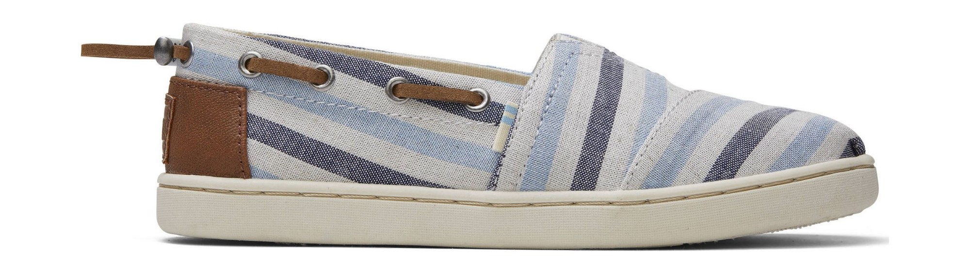 TOMS Woven Stripe Synthetic Trim Junior's Bimini Navy 31