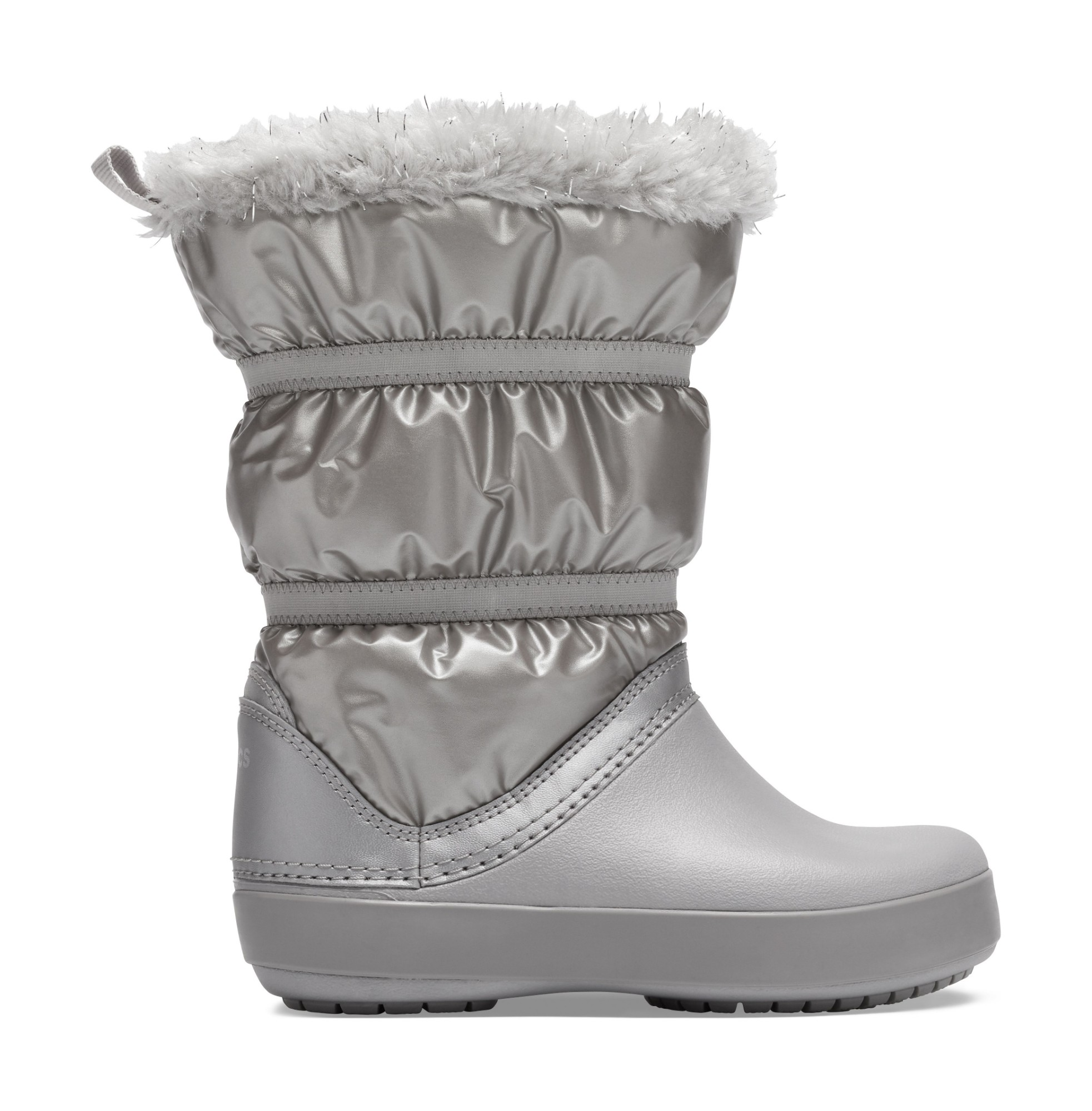 Crocs™ Crocband LodgePoint Metallic Boot Girl's Silver Metallic 29