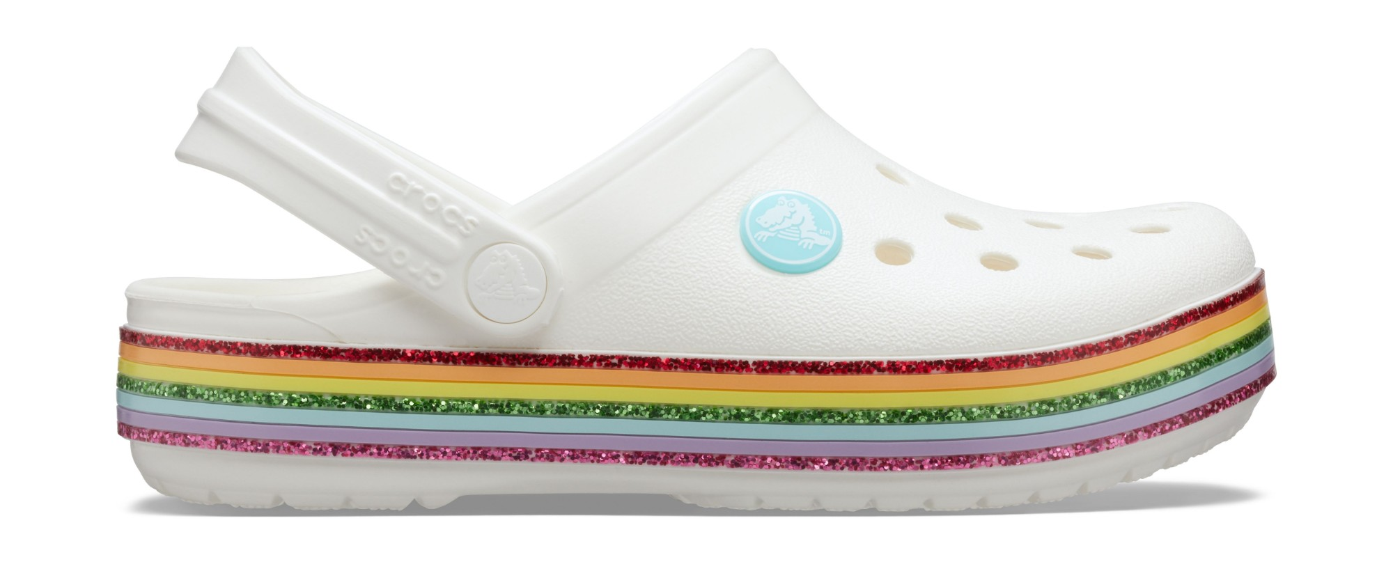 Crocs™ Crocband Rainbow Glitter Clog Kids White 22