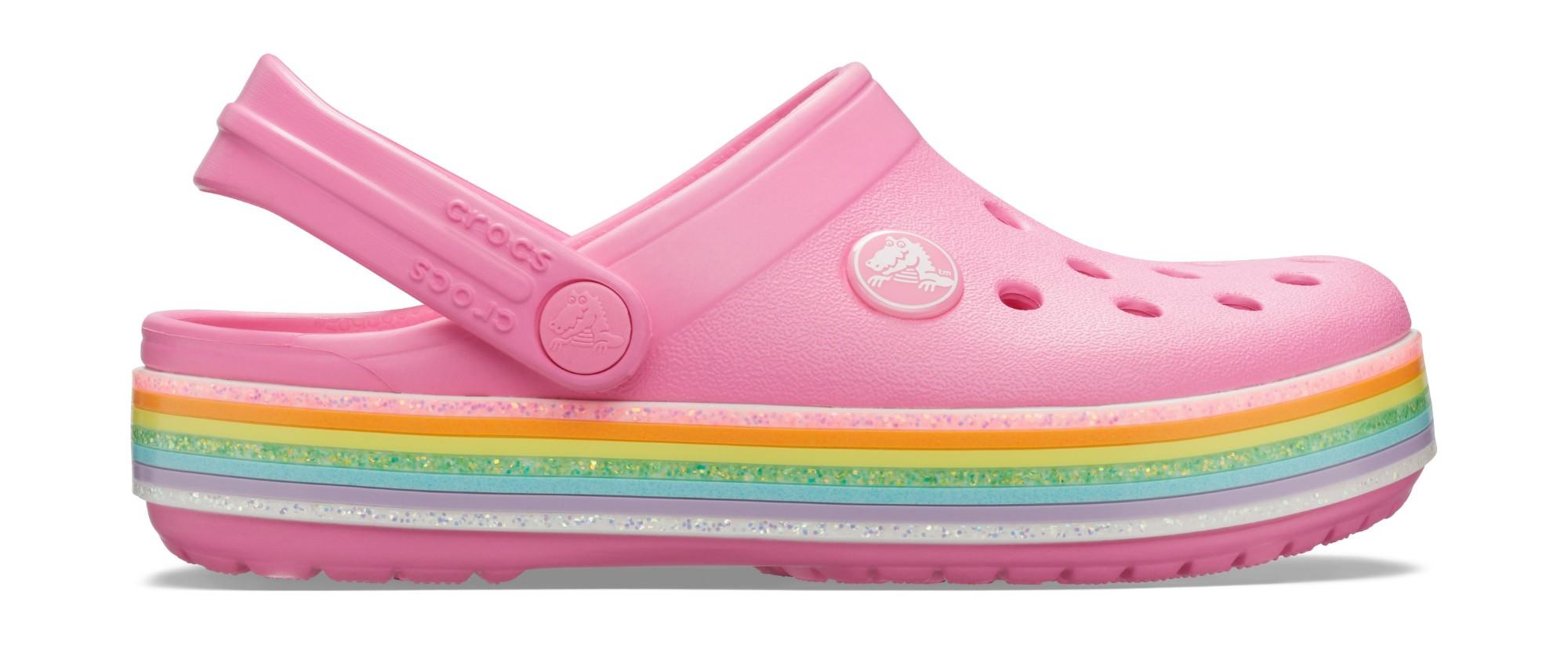 Crocs™ Crocband Rainbow Glitter Clog Kids Pink Lemonade 24