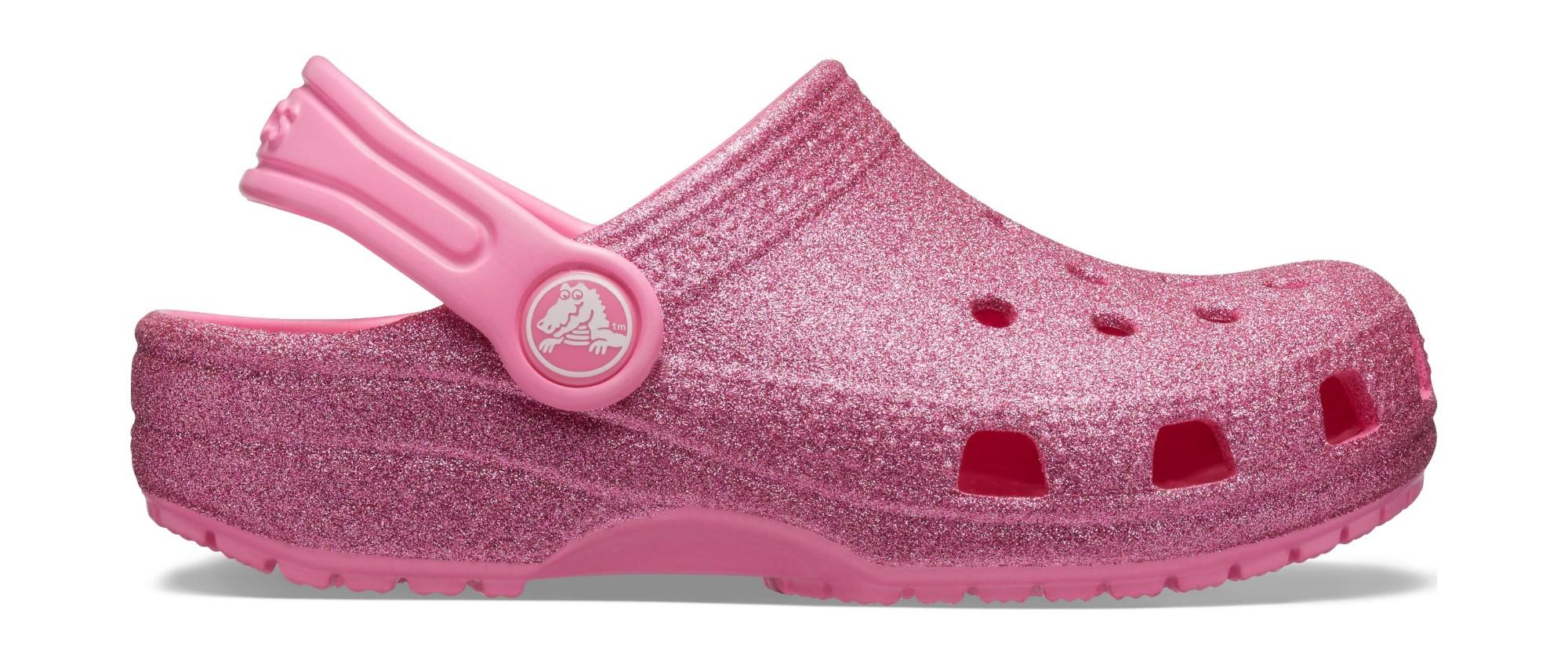 Crocs™ Kids' Classic Glitter Clog Pink Lemonade 24