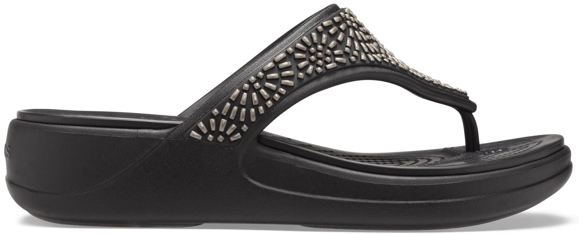 Crocs™ Monterey Diamante Wedge Flip Womens Black 36,5