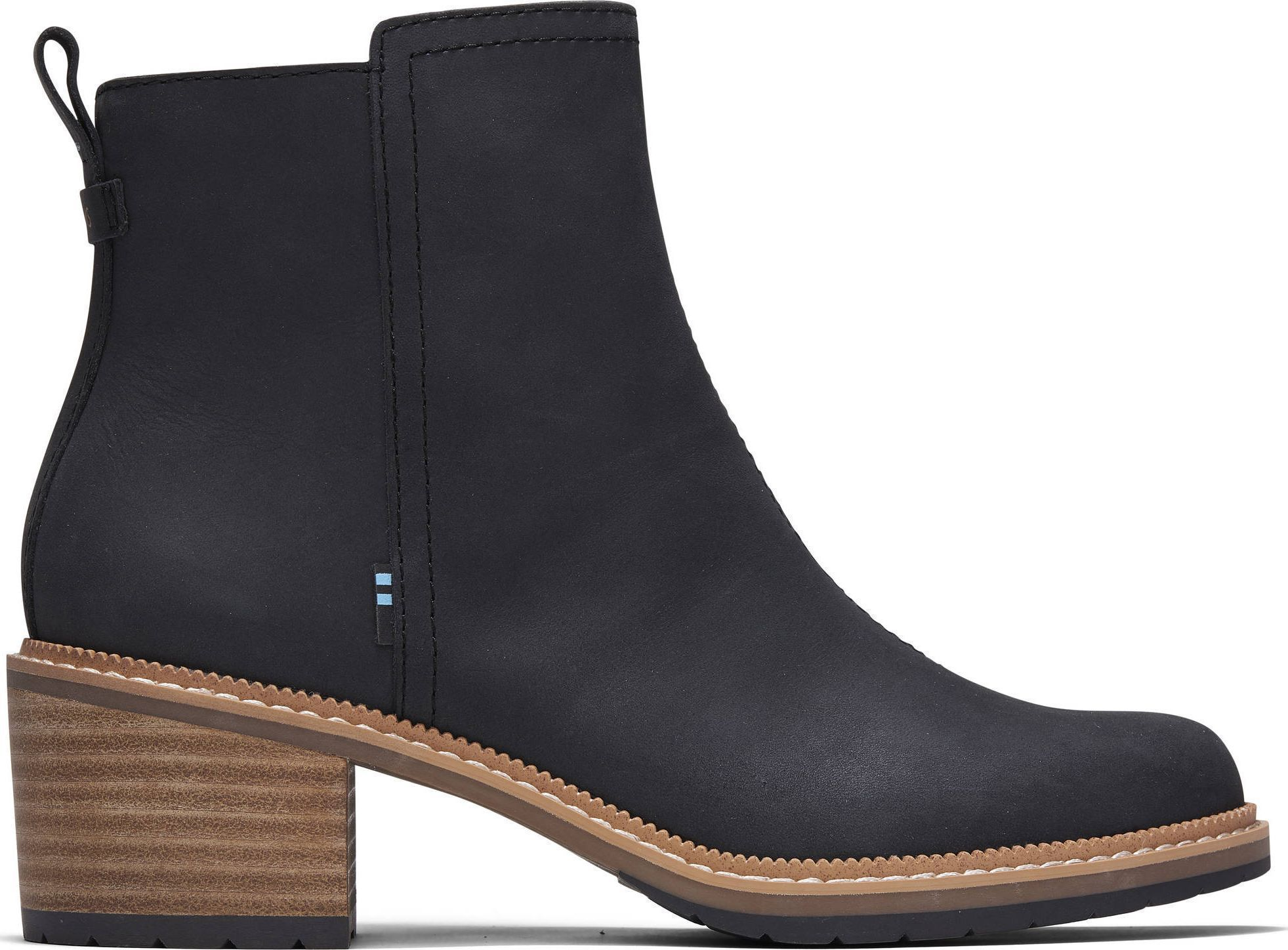 TOMS Smooth Waxy Leather Women's Marina Bootie Black 37