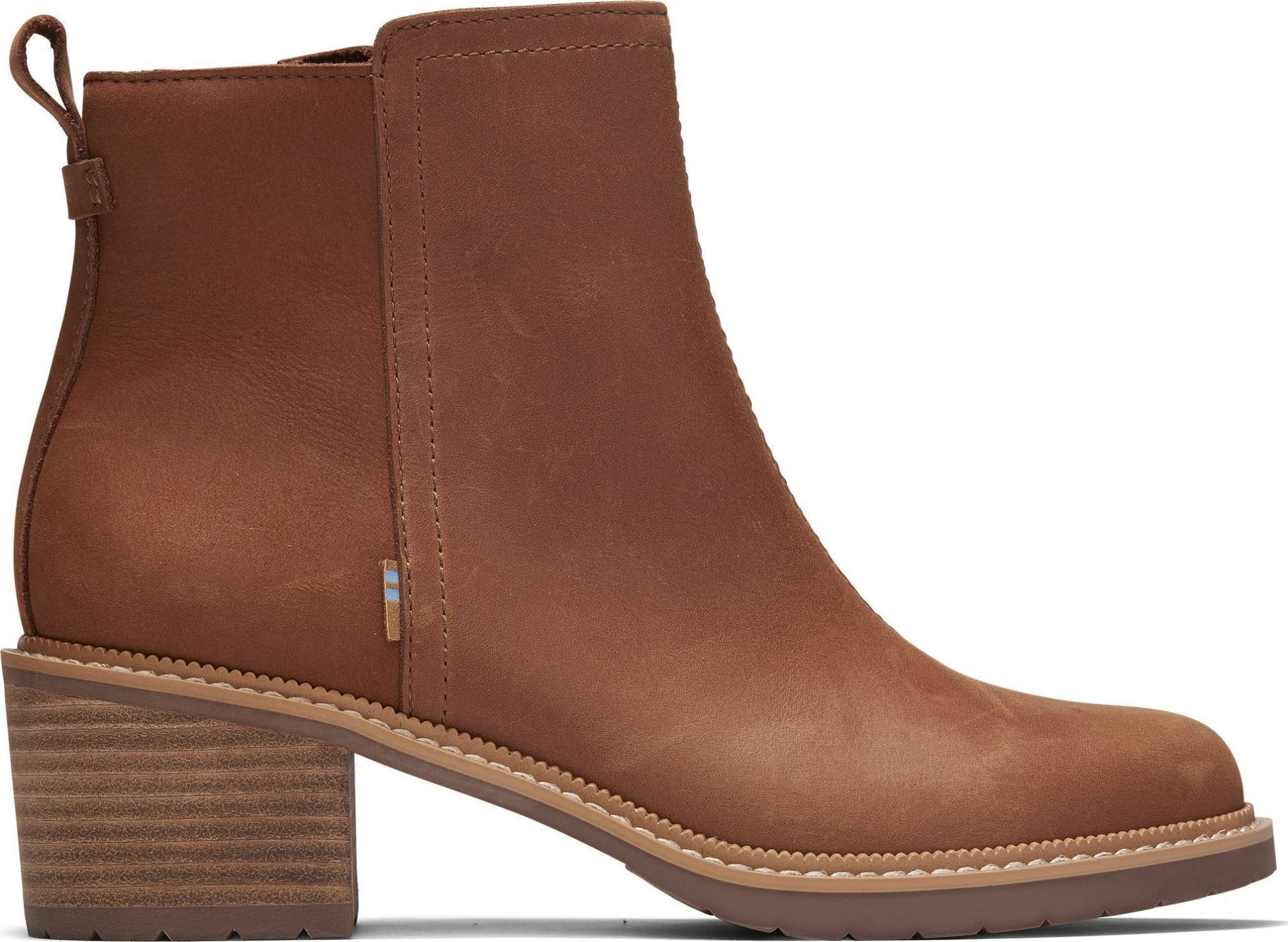 TOMS Smooth Waxy Leather Women's Marina Bootie Tan 37