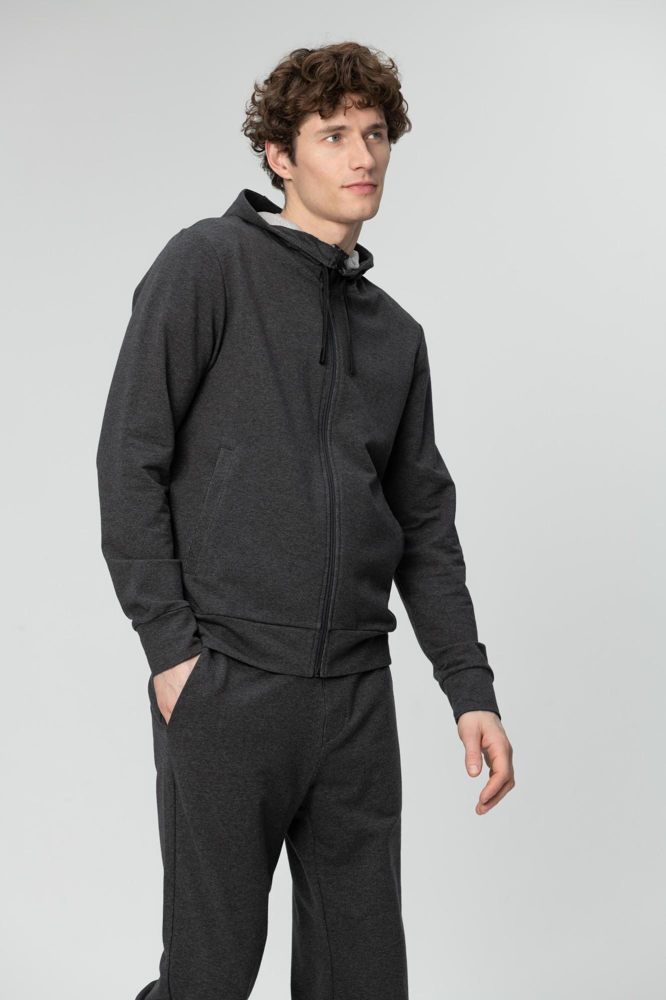 AUDIMAS Atsegamas medvilninis džemperis 2011-457 Dark Grey Melange L