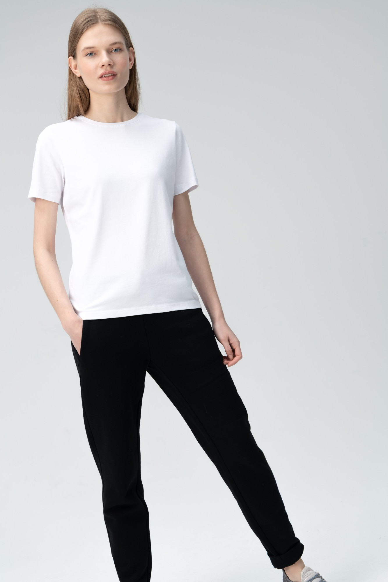 AUDIMAS Tamprūs medvilniniai marškinėliai 2011-073 White XS