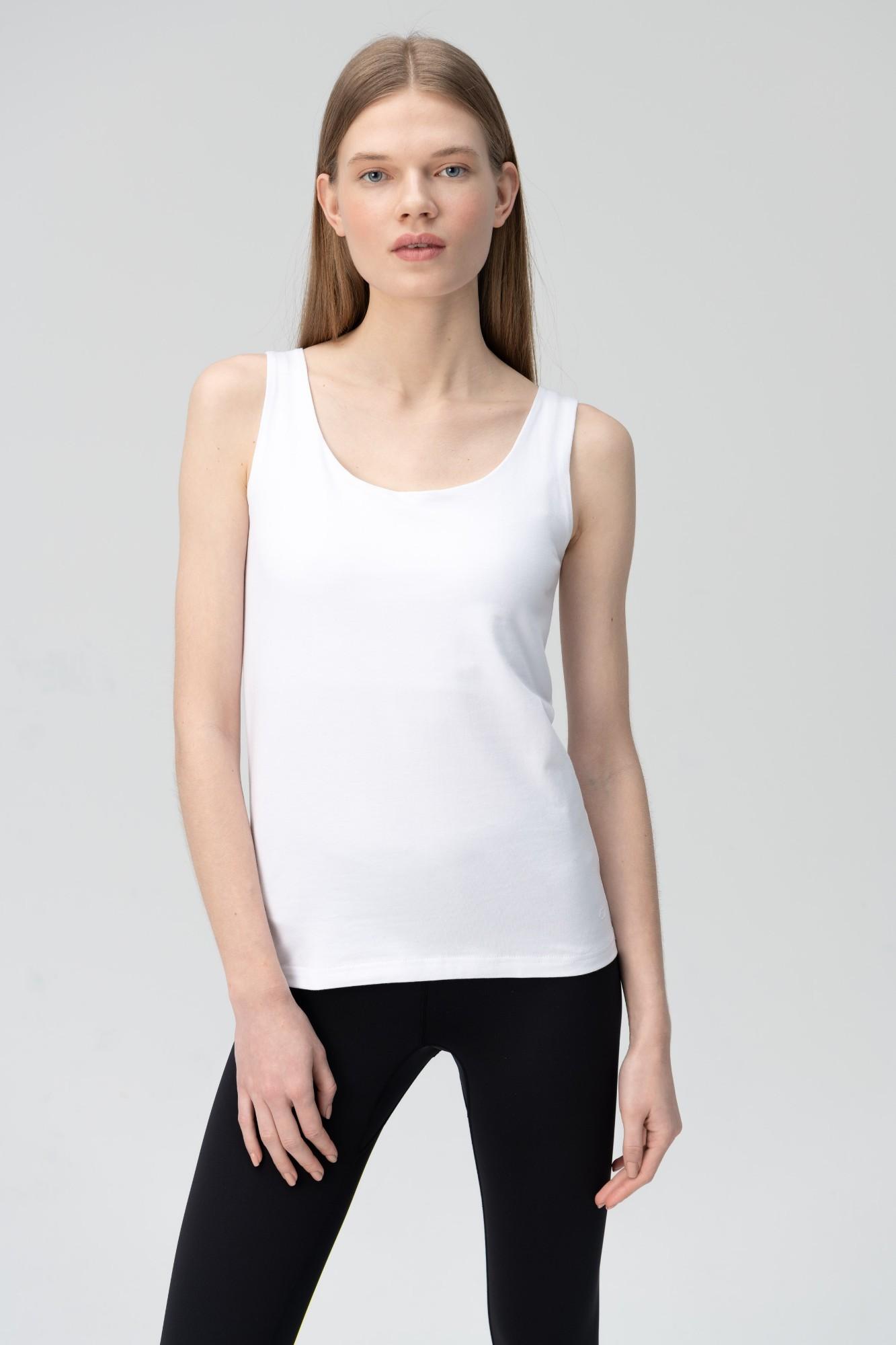 AUDIMAS Medvilniniai berankoviai marškin. 2011-079 White L