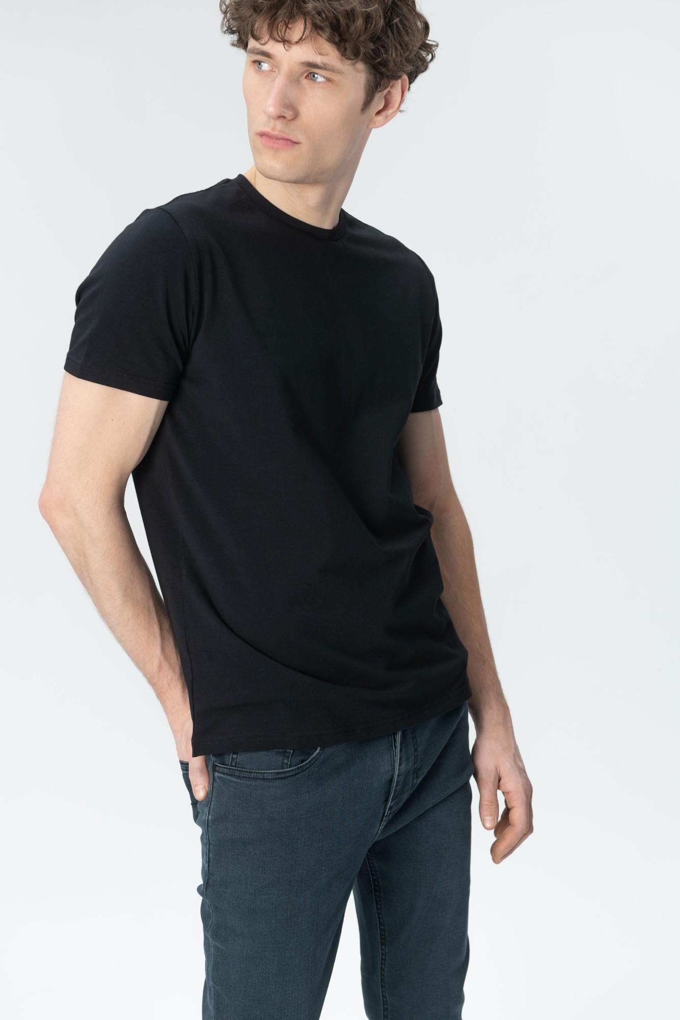 AUDIMAS Tamprūs medvilniniai marškinėliai 2011-472 Black M