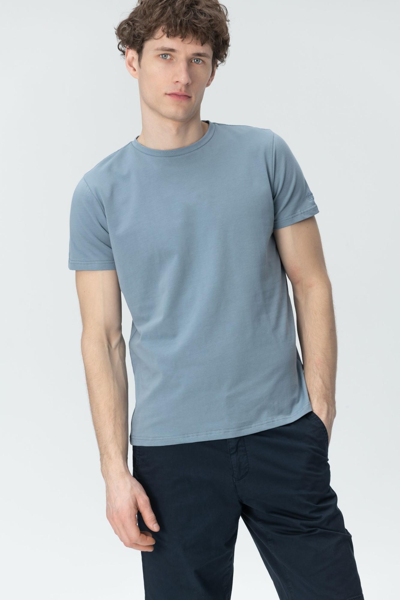 AUDIMAS Tamprūs medvilniniai marškinėliai 2011-472 Blue Mirage XL