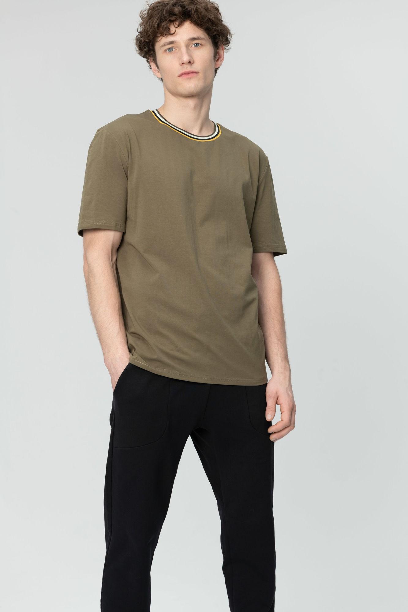 AUDIMAS Tamprūs medvilniniai marškinėliai 2011-642 Dark Olive S