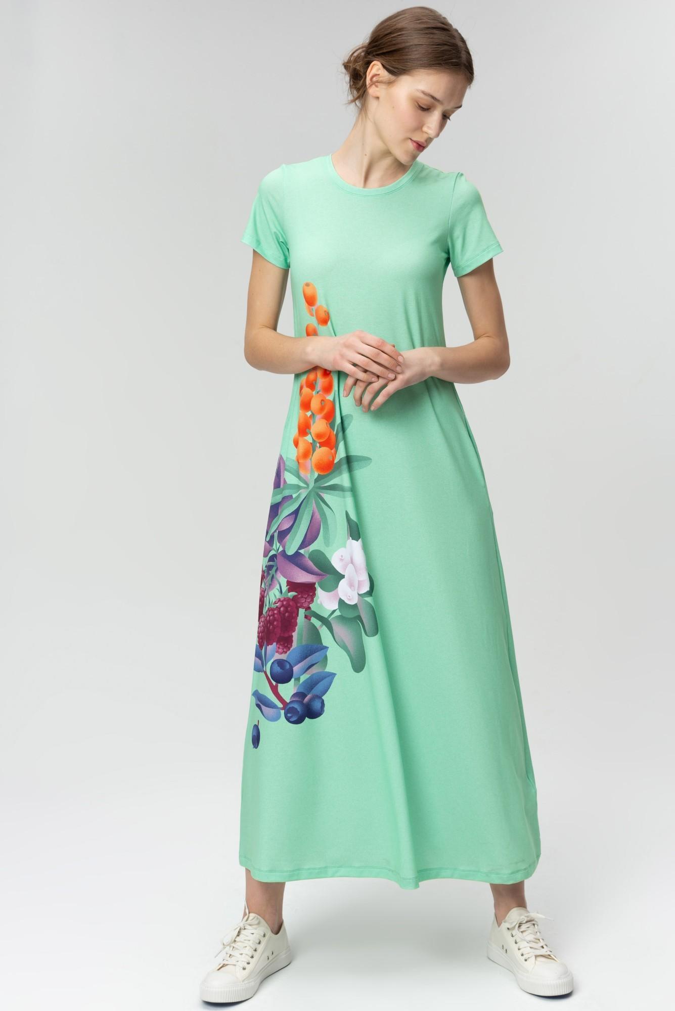AUDIMAS Ilga tampri marginta suknelė 20FL-007 Mint Garden S