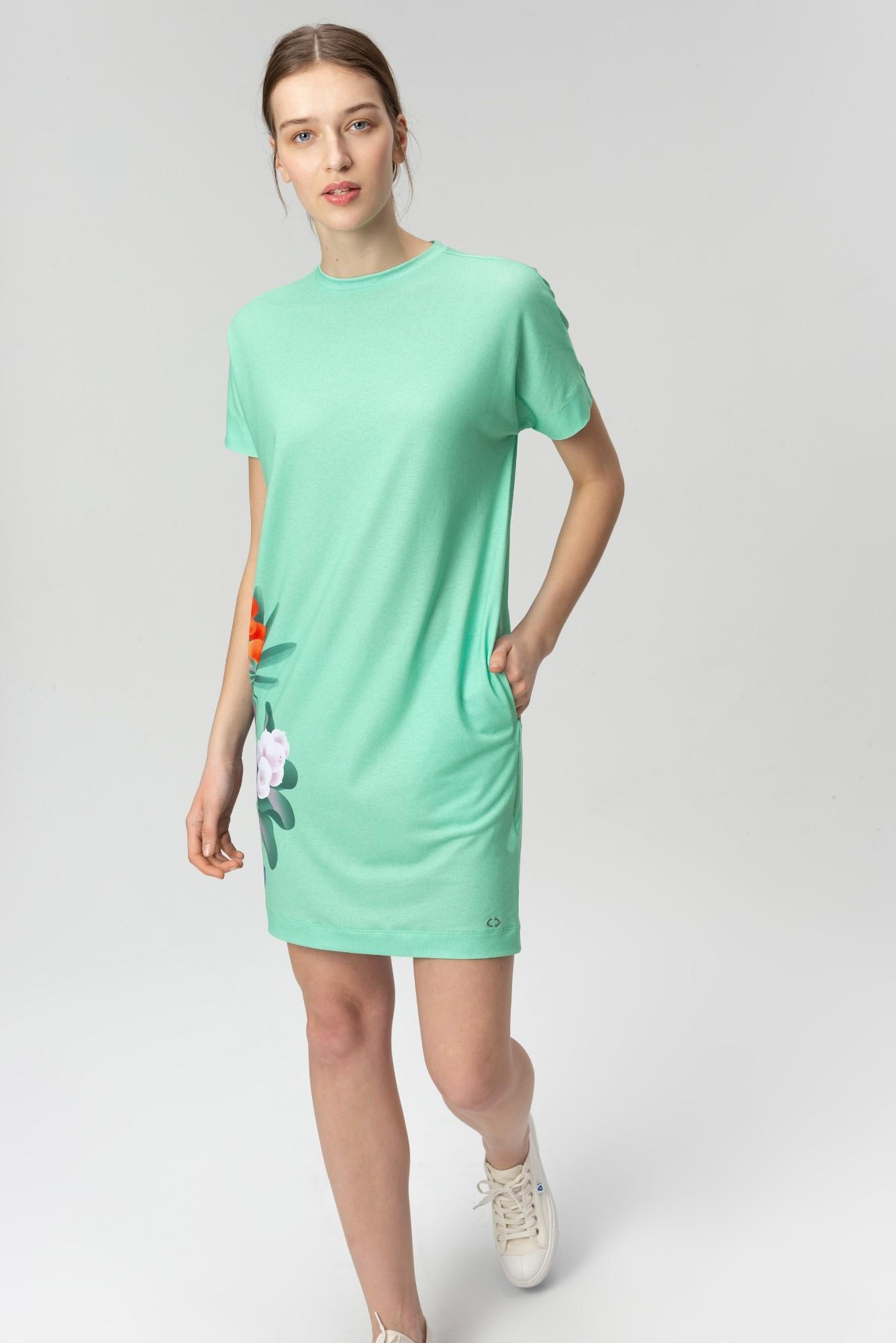 AUDIMAS Trumpa tampri marginta suknelė 20FL-012 Mint Garden L