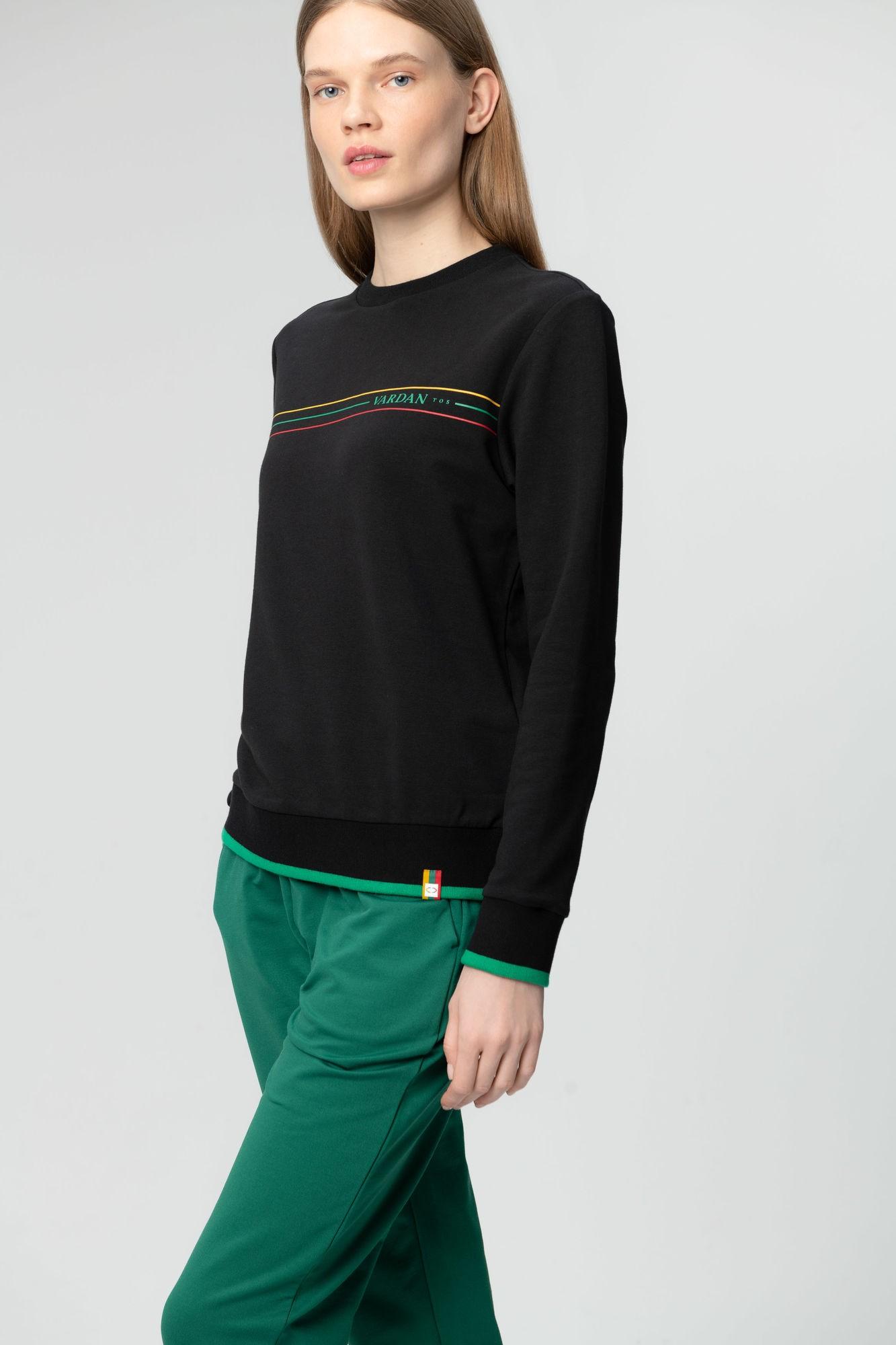 AUDIMAS Tamprus medvilninis džemperis 20LT-009 Black XS