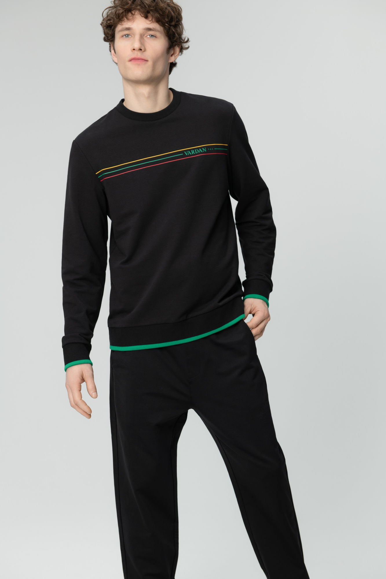 AUDIMAS Medvilnės TERRY trikotažo džemp. 20LT-409 Black M