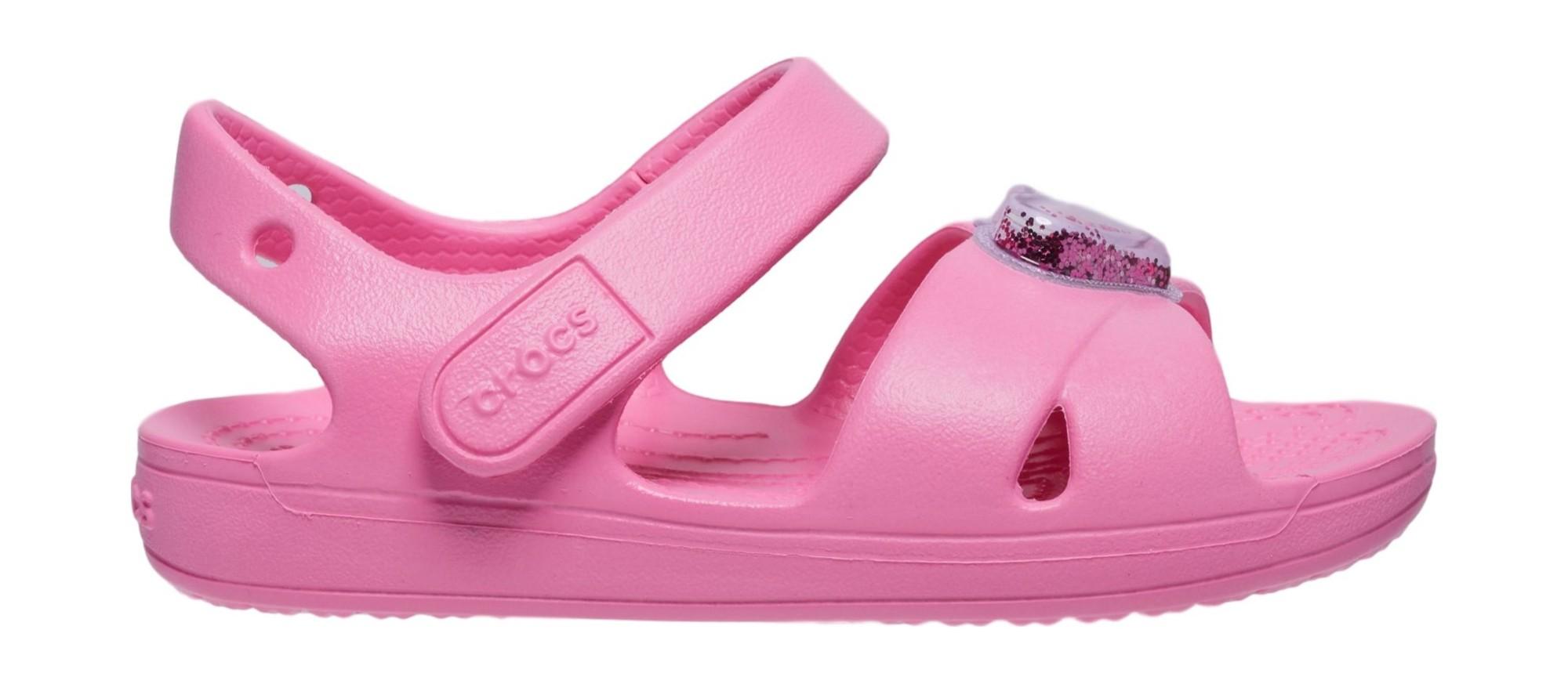 Crocs™ Classic Cross Strap Charm Sandal T Pink Lemonade 29