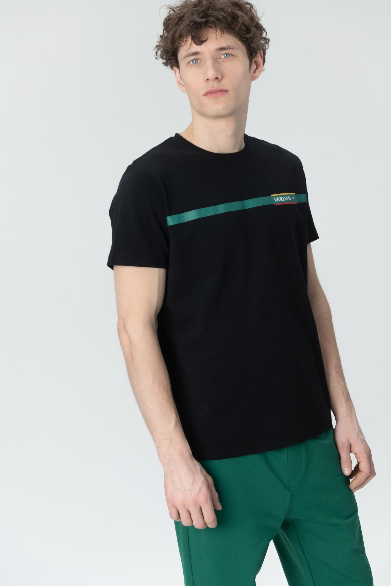 AUDIMAS Marg. medvilniniai marškinėliai 20LT-403 Black L