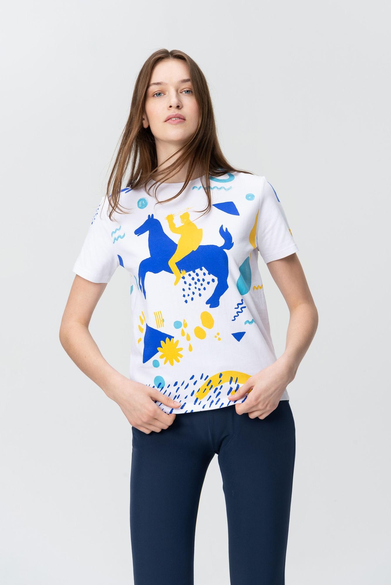 AUDIMAS Marškinėliai trumpomis rankovėmis 20HR-021 Vytis5/White Printed XL