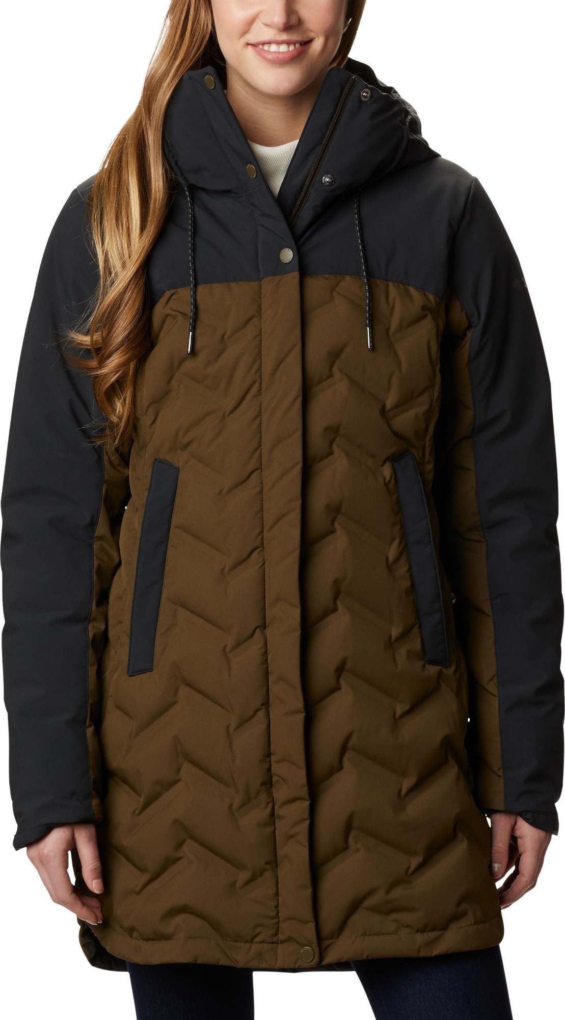 Columbia Mountain Croo Long Down Jacket Women's Olive Green/Black S