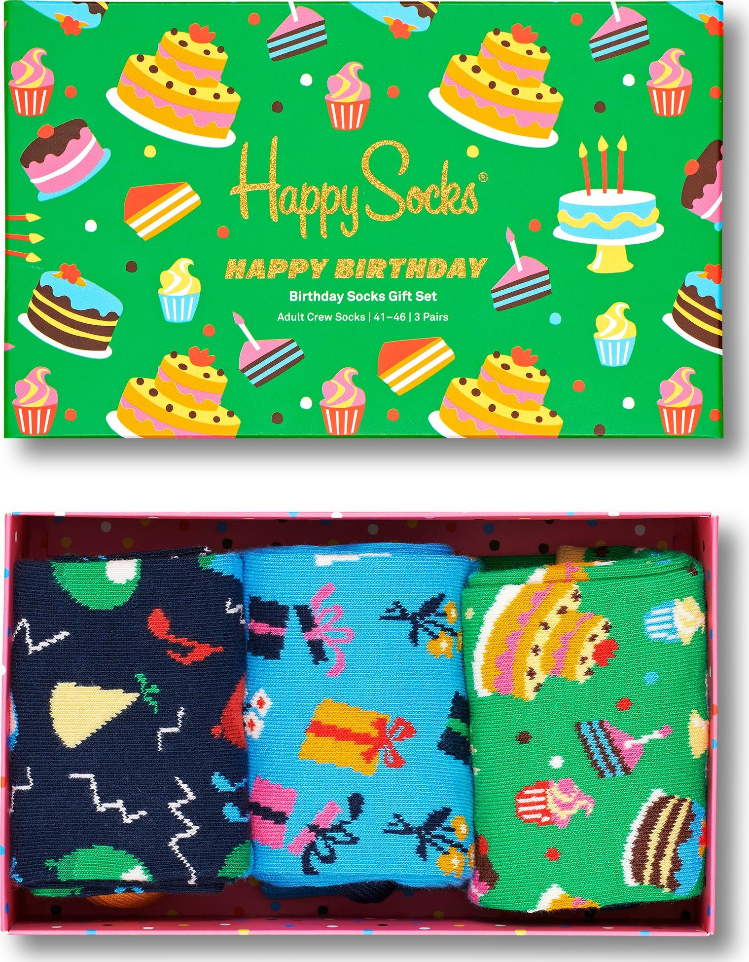 Happy Socks 3-Pack Happy Birthday Socks Gift Set Multi 0100 36-40