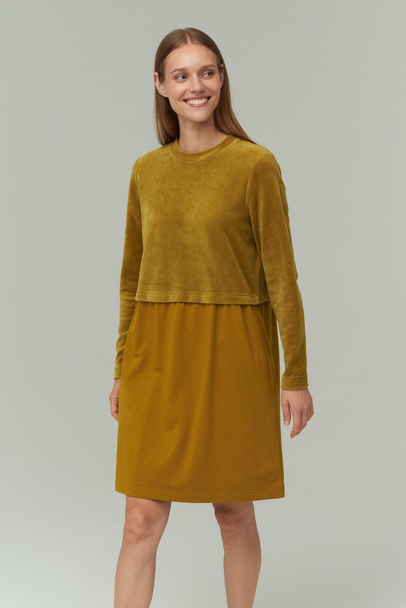 AUDIMAS Medvilninė veliūro suknelė 2021-104 Ecru Olive XS