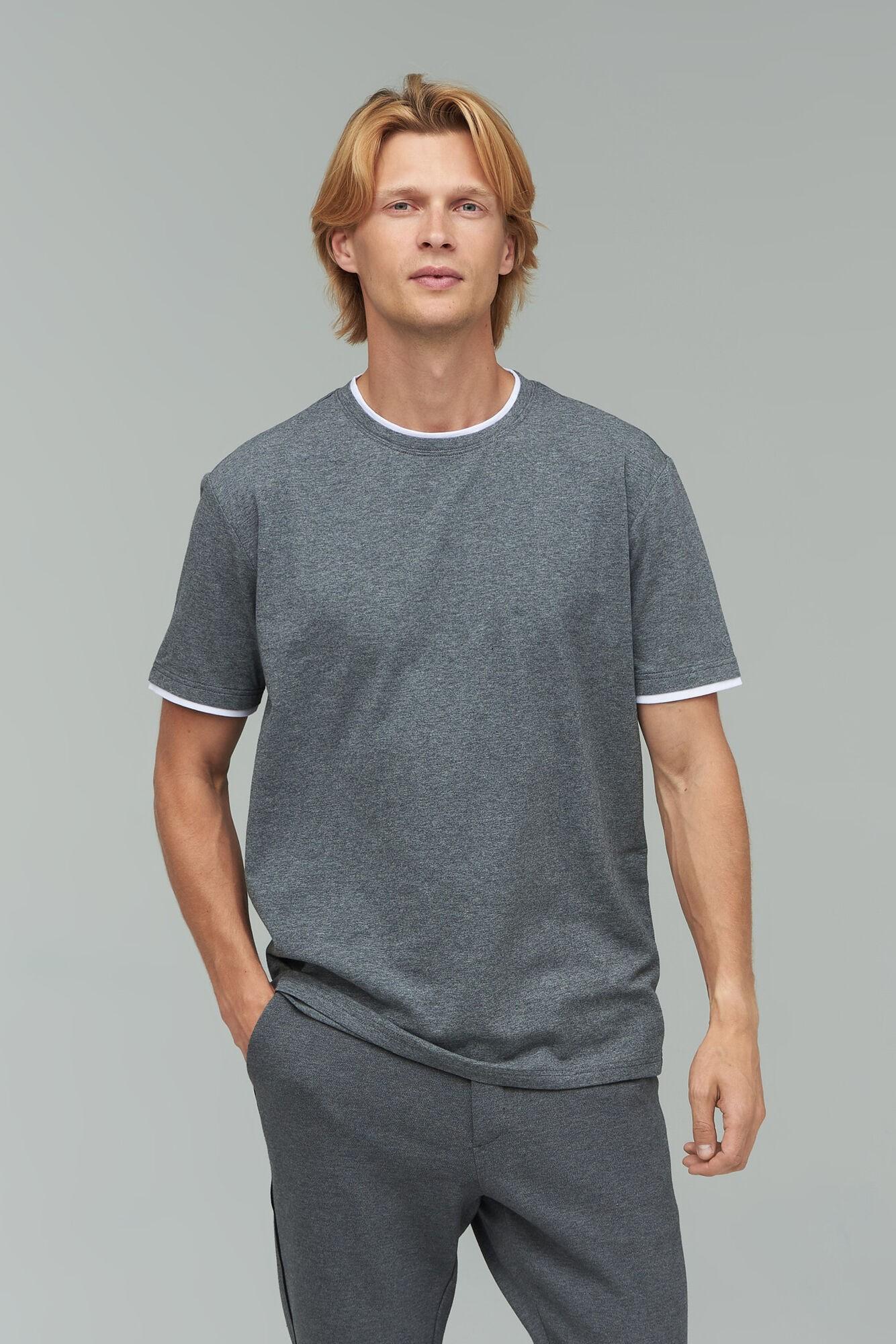 AUDIMAS Tamprūs medvilniniai marškinėliai 2021-642 Middle Grey Melange XXL