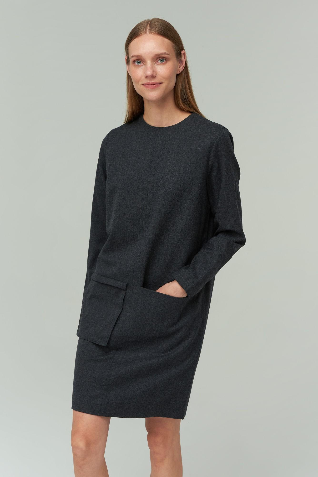 AUDIMAS Merino vilnos suknelė 20RM-003 Dark Grey Melange M