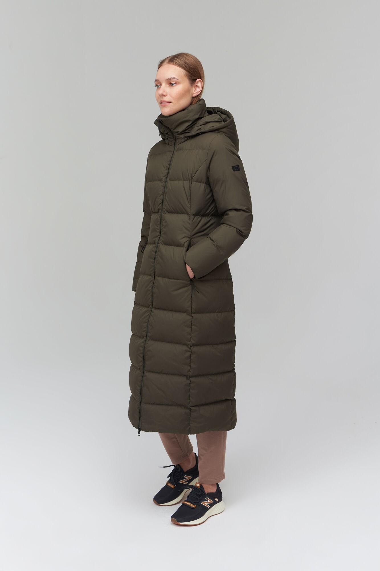 AUDIMAS Ilgas pūkinis paltas 2021-157 Black Olive S