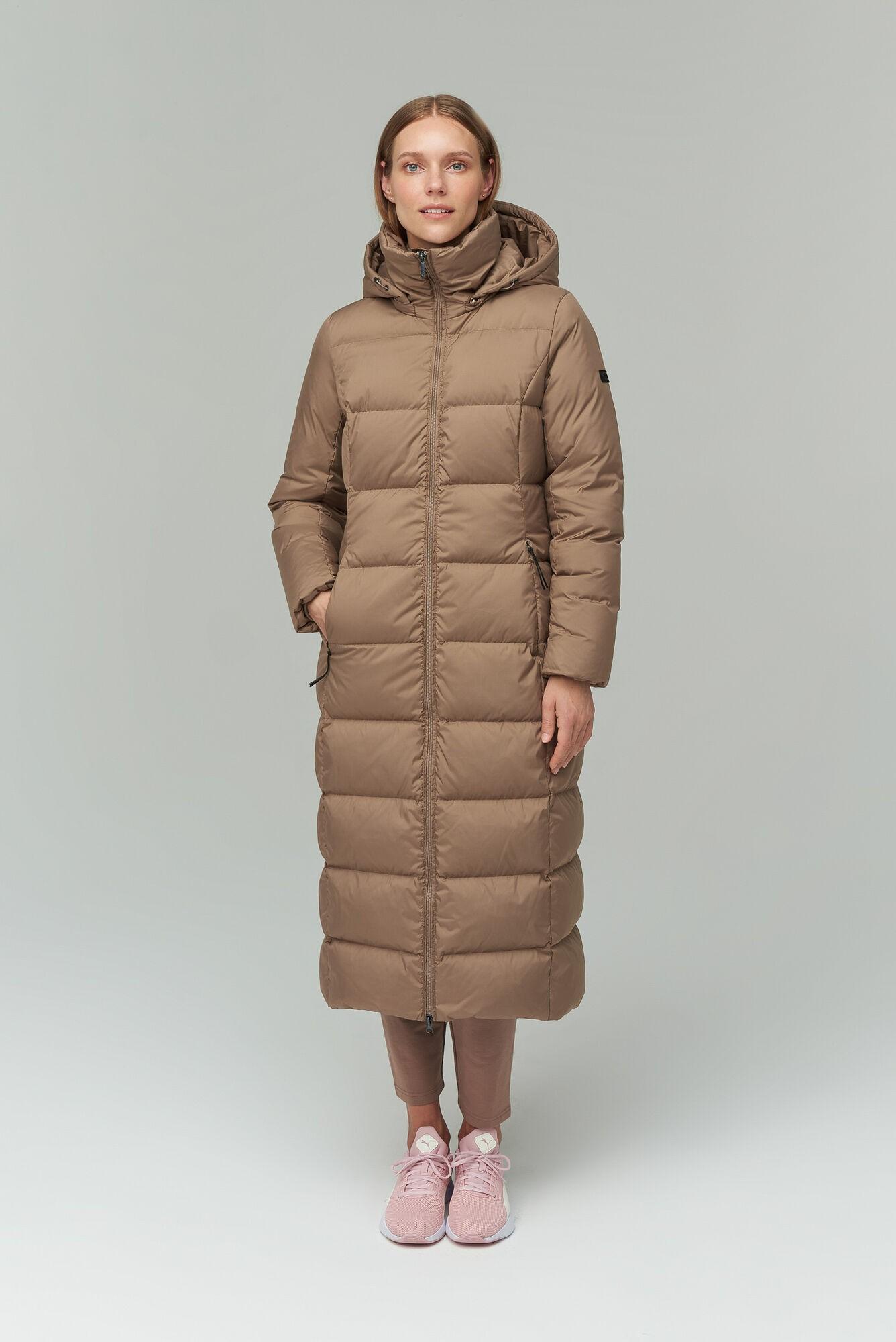 AUDIMAS Ilgas pūkinis paltas 2021-157 Pine Bark S
