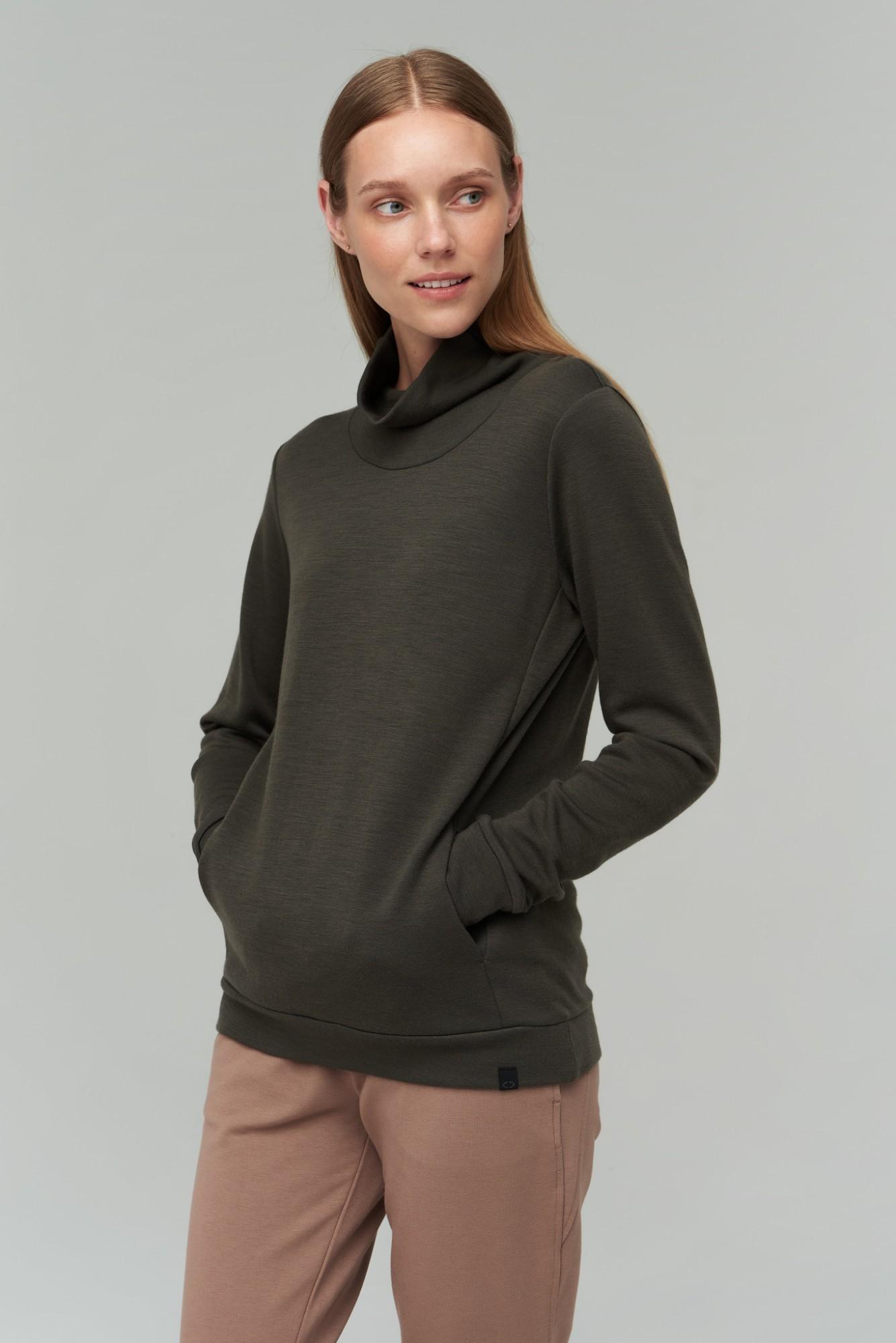 AUDIMAS Merino v.ir bambuko pluošto džemp.2021-162 Black Olive XS