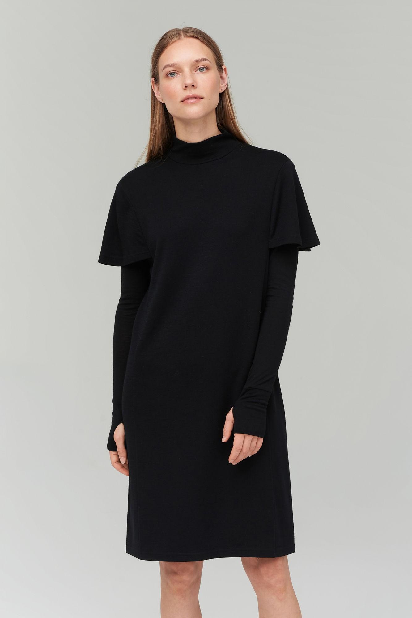 AUDIMAS Merino ir bambuko pluošto suknelė 20RM-005 Black XS