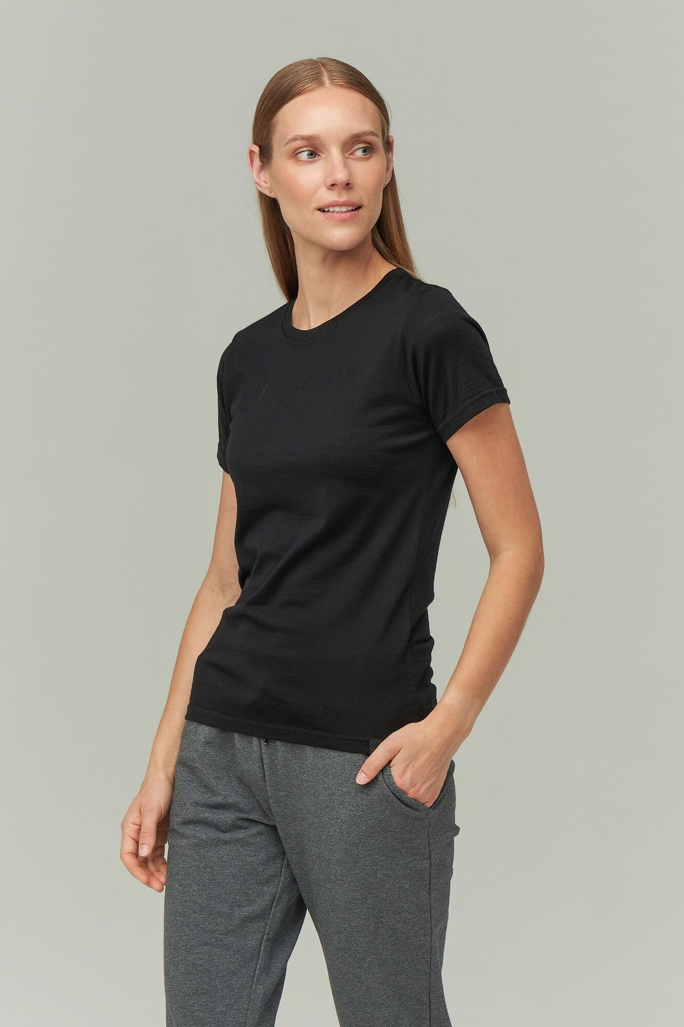 AUDIMAS Plonos merino vilnos marškinėliai 2021-043 Black S