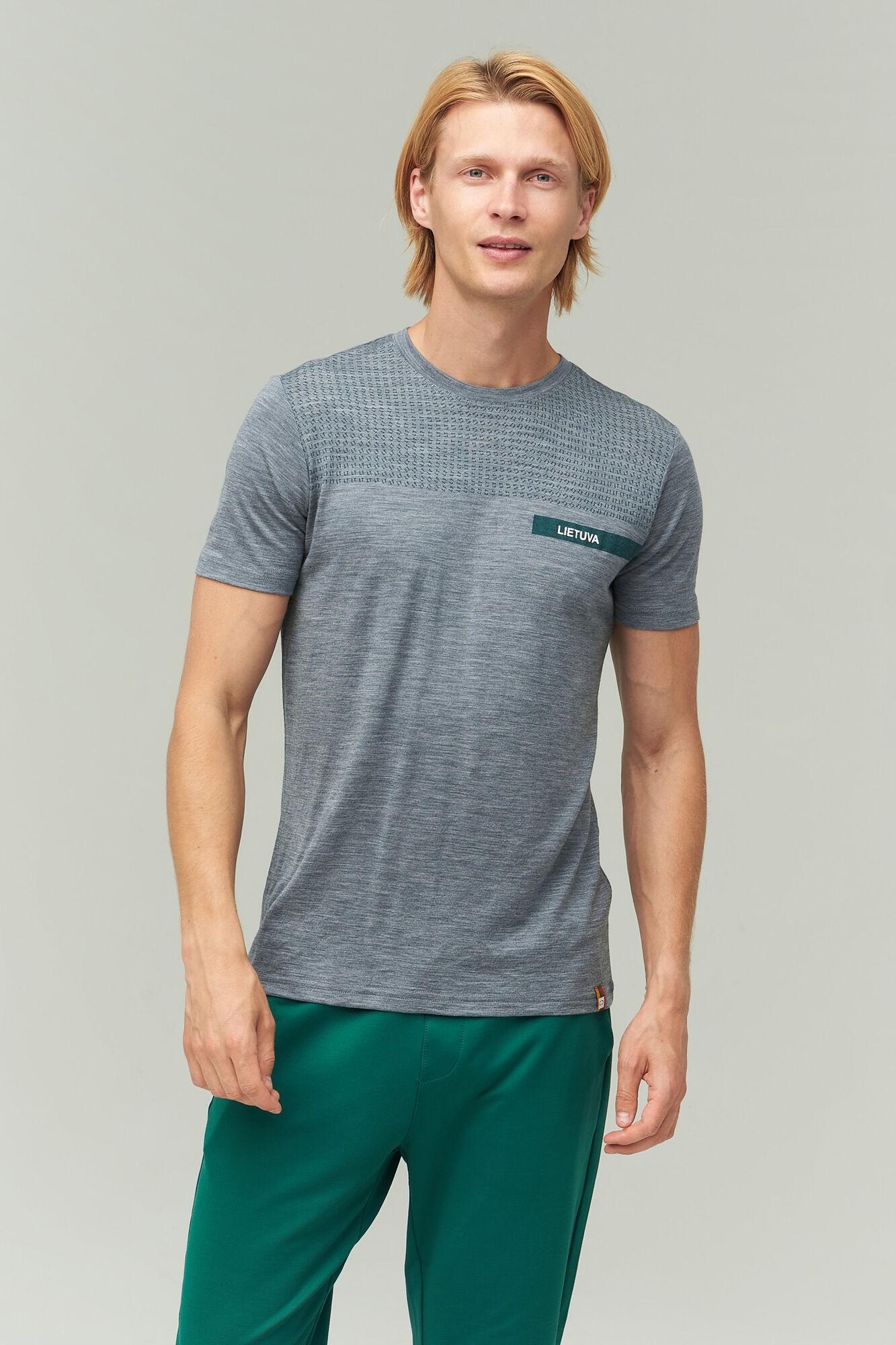 AUDIMAS Plonos merino vilnos marškinėliai 2021-534 Mid Grey Mel Pr Lt S