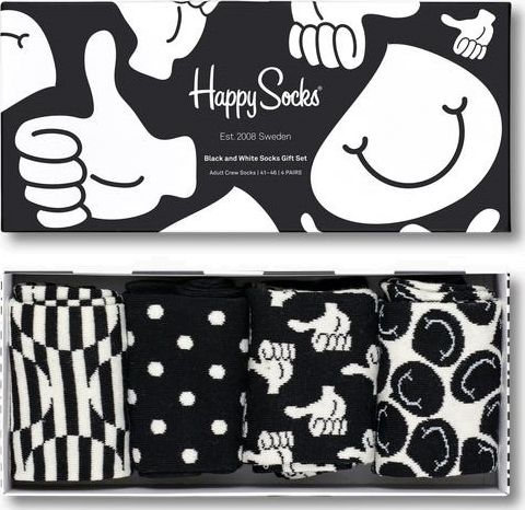 Happy Socks Black And White Gift Box Multi 9300 36-40
